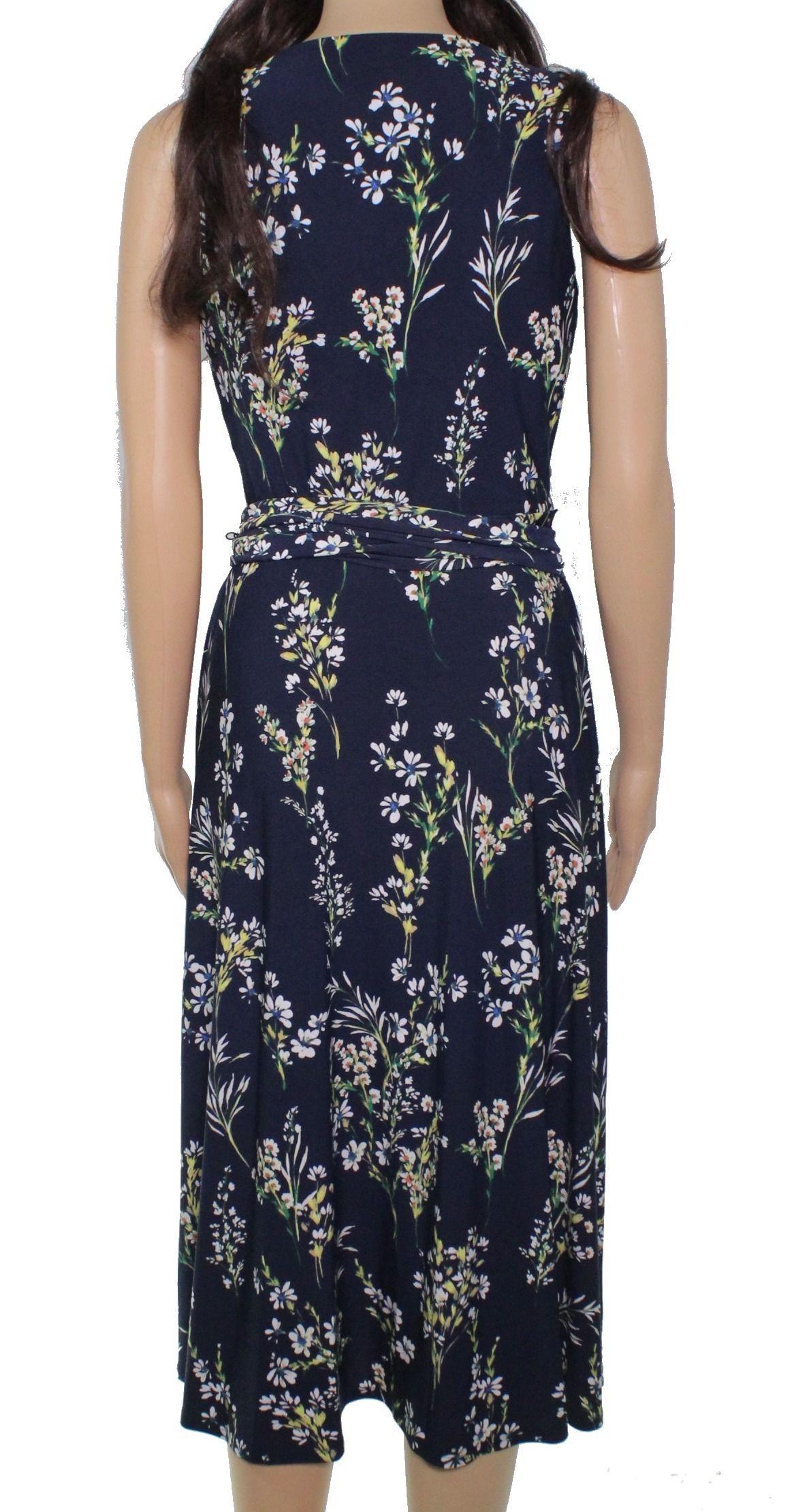 Lauren By Ralph Lauren Women's A-Line Dress Blue Size 8 Floral V-Neck