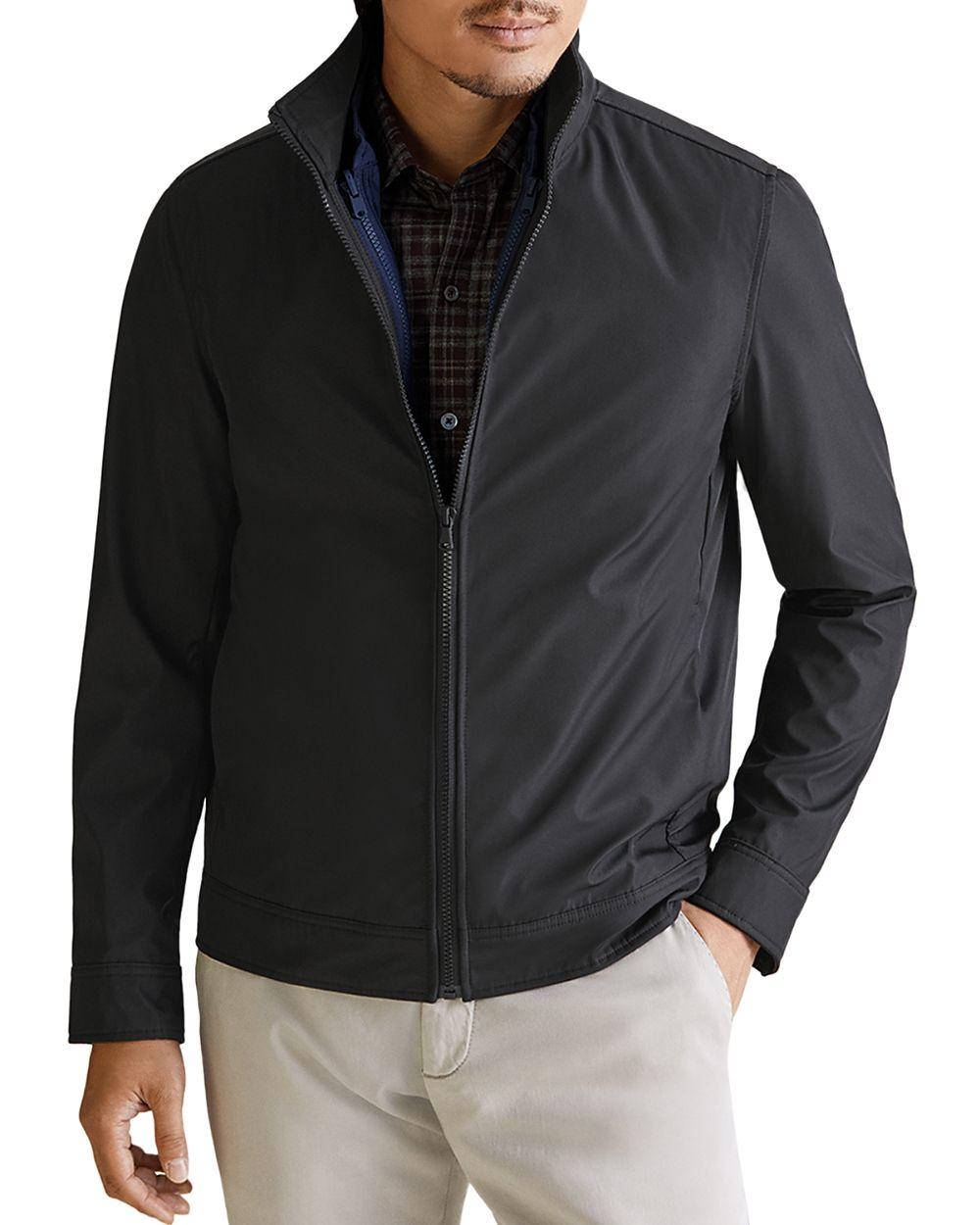 Zachary Prell Mens Jacket Deep Black Size XL Full-Zip Layered Lined