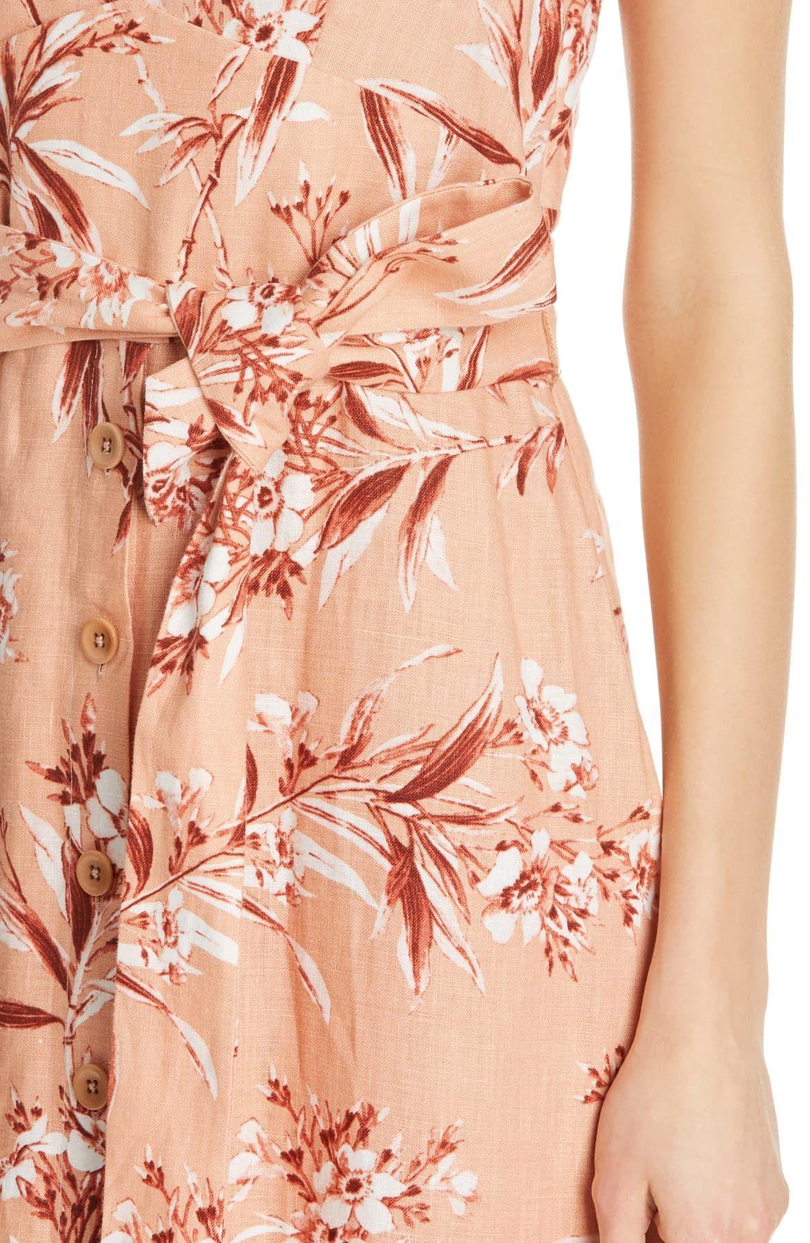 Joie Women's Dress Pink Size XS Sheath Ethelda Floral Printed Linen