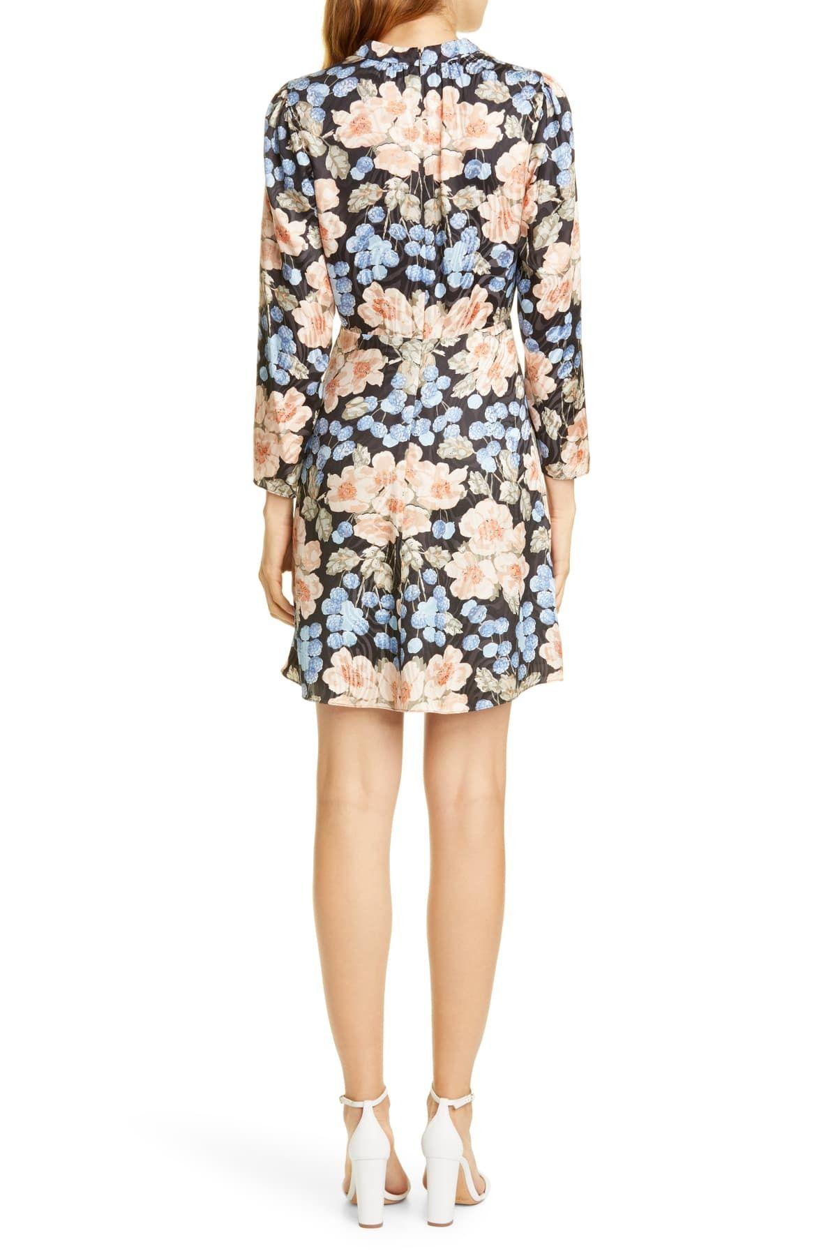Rebecca Taylor Women's Dress Black Size 8 A-Line Floral Printed Silk