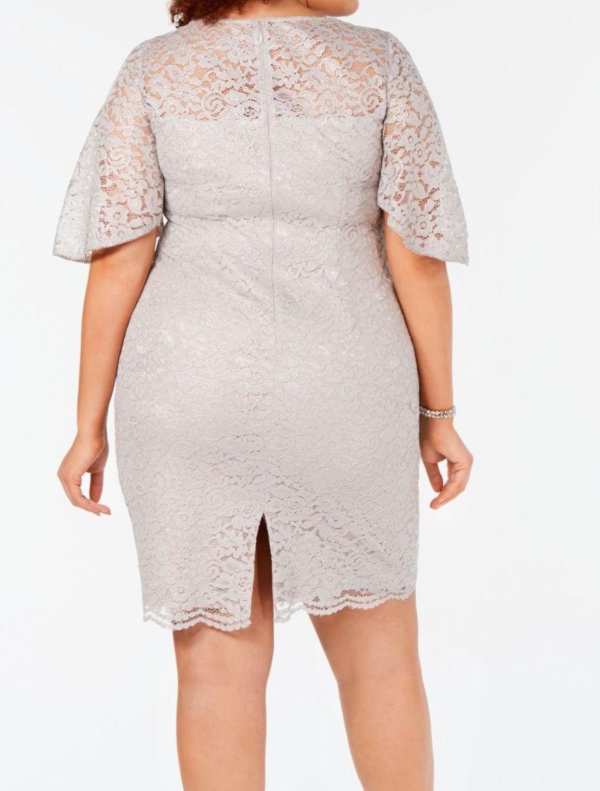 Adrianna Papell Women's Dress Gray Size 10 Sheath Lace Rhinestone Trim