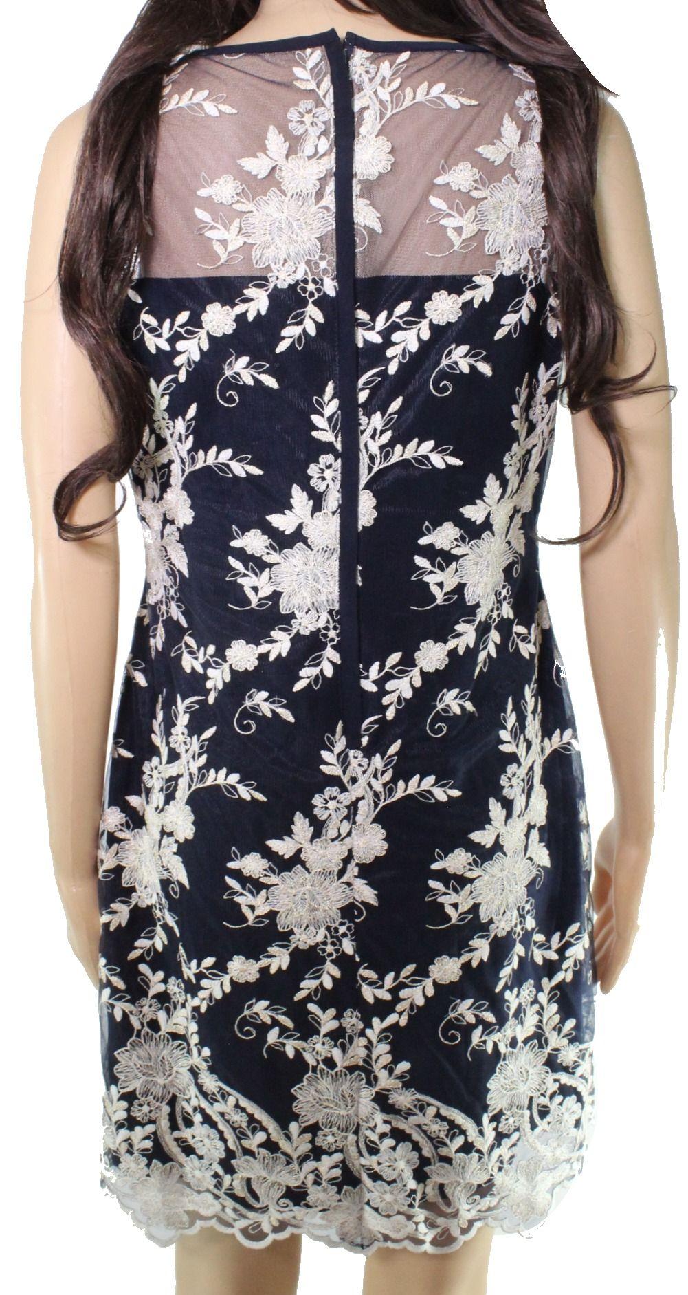 Lauren by Ralph Lauren Women's Dress Blue 6P Petite Sheath Embroidered