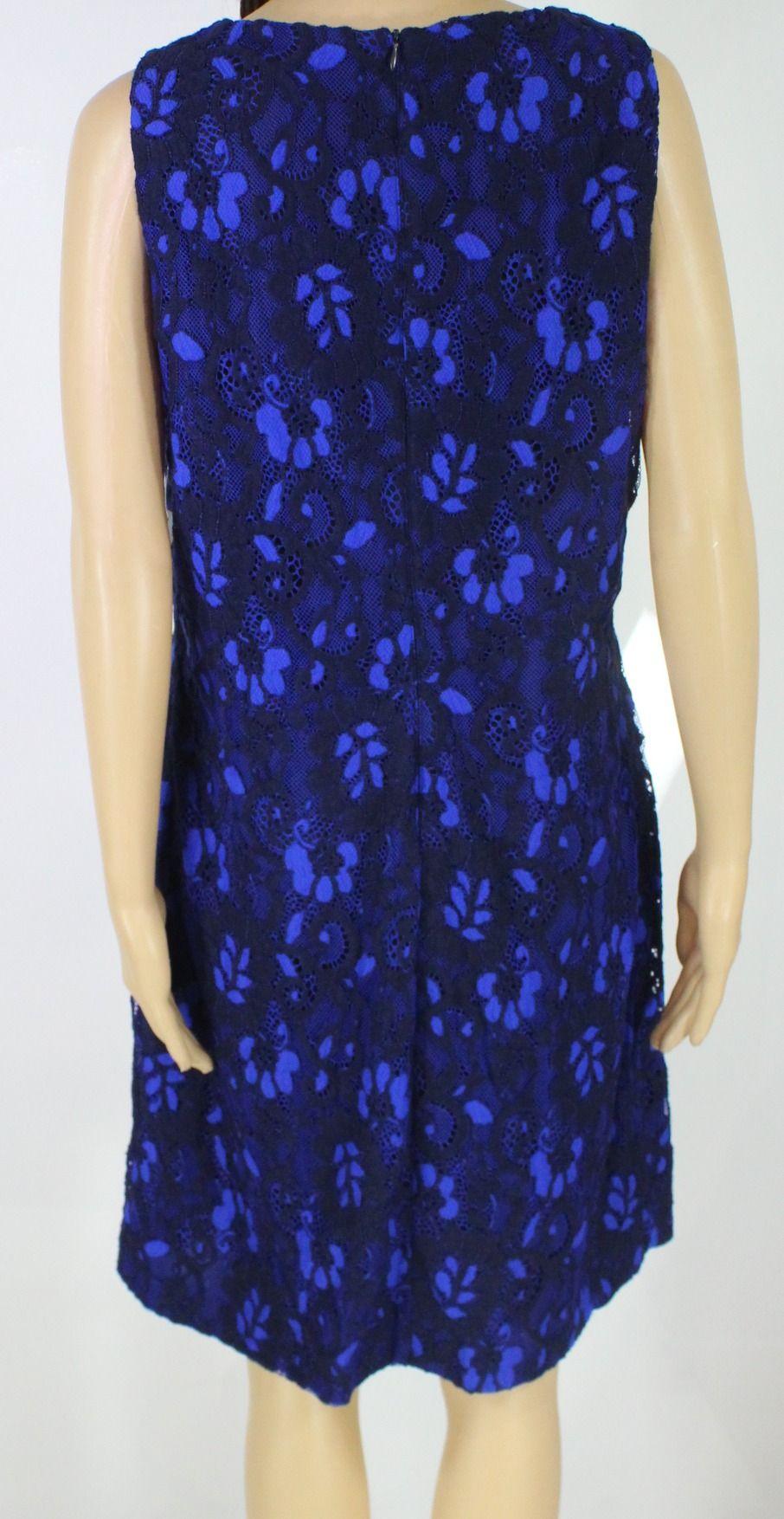Lauren by Ralph Lauren Women's Dress Blue Size 10 Sheath Lace Floral