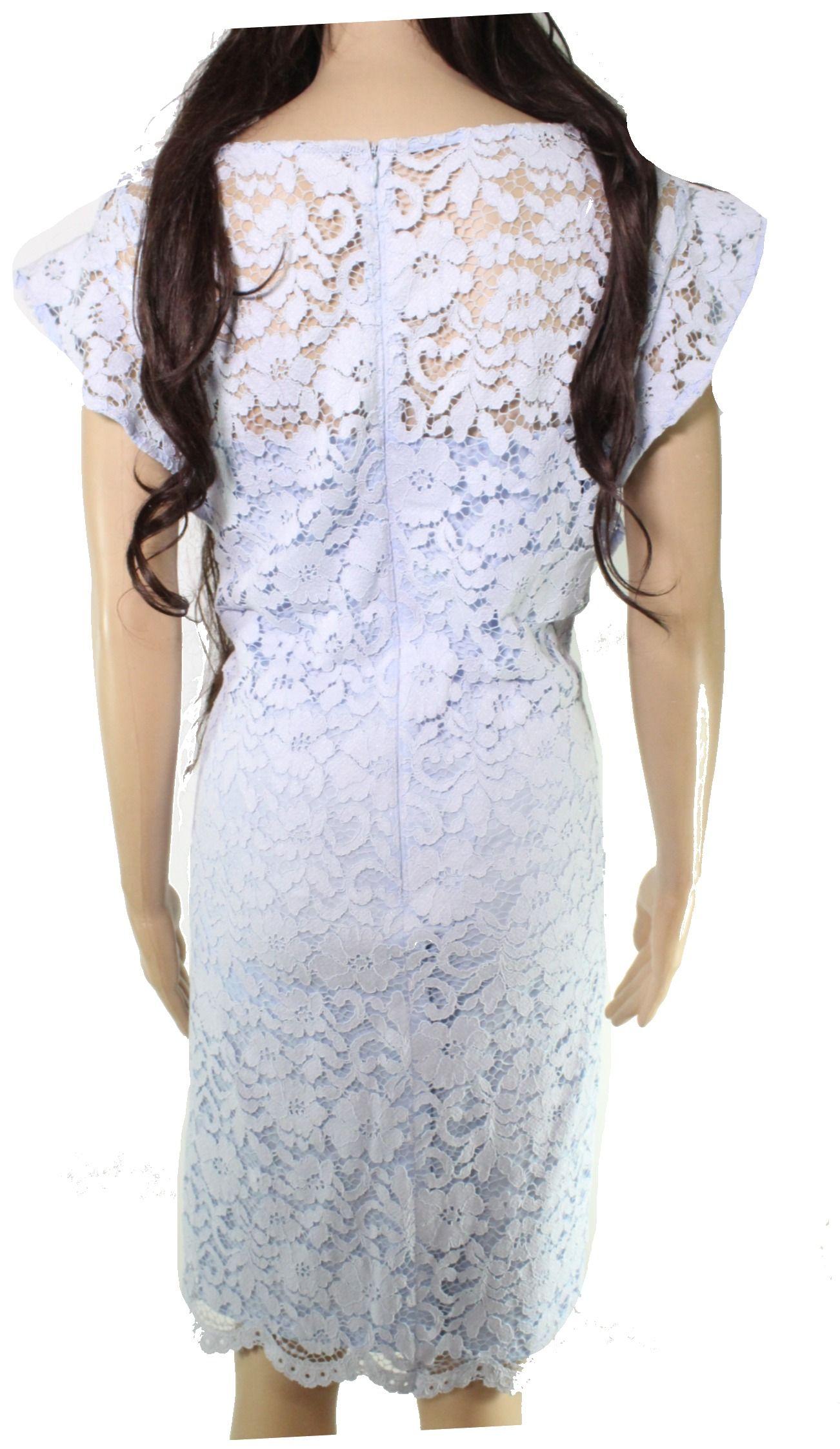 Lauren by Ralph Lauren Womens Dress Sky Blue Size 4 Sheath Lace Floral