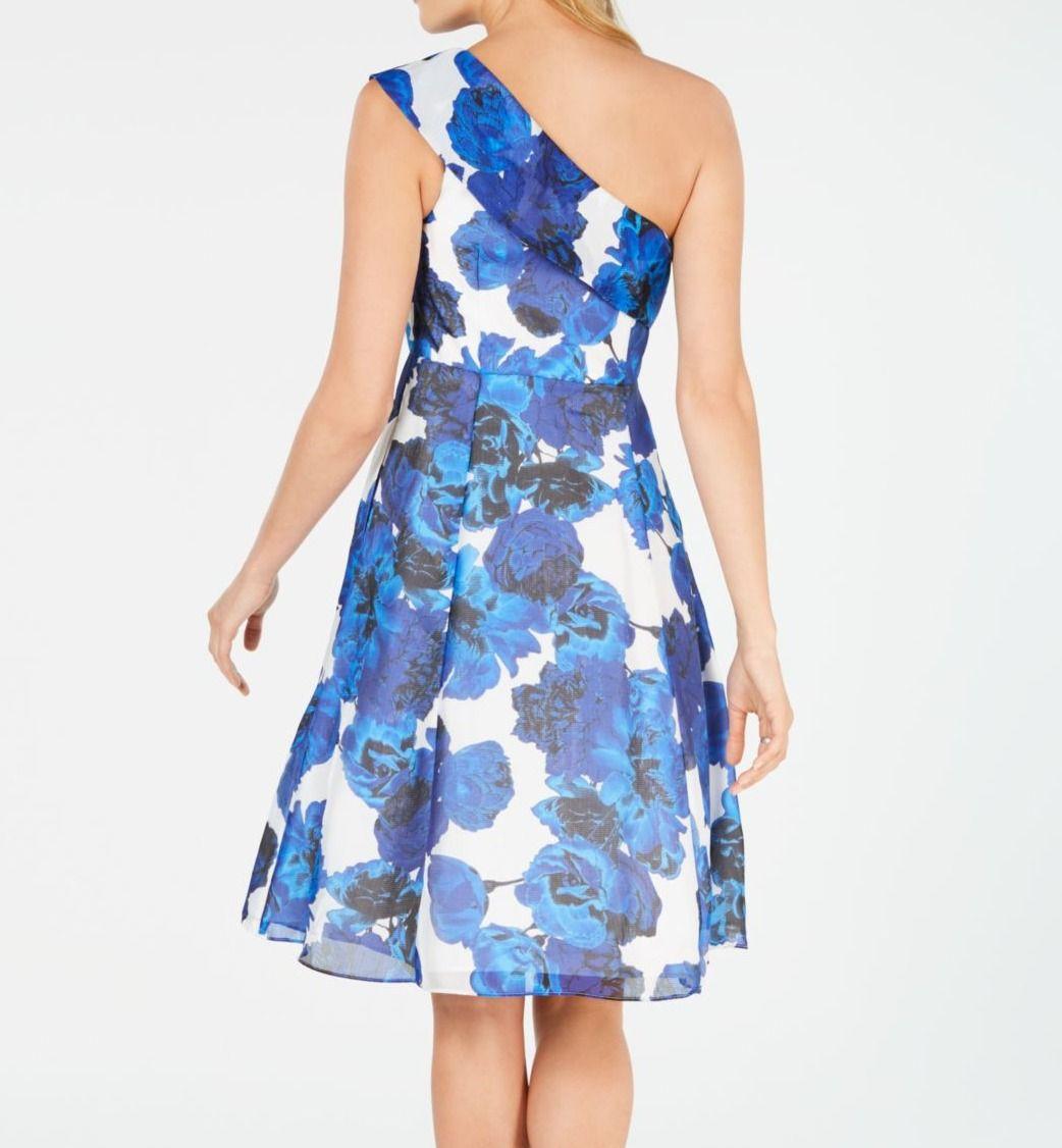 Adrianna Papell Women's Dress Blue Size 14 A-Line Floral Pockets