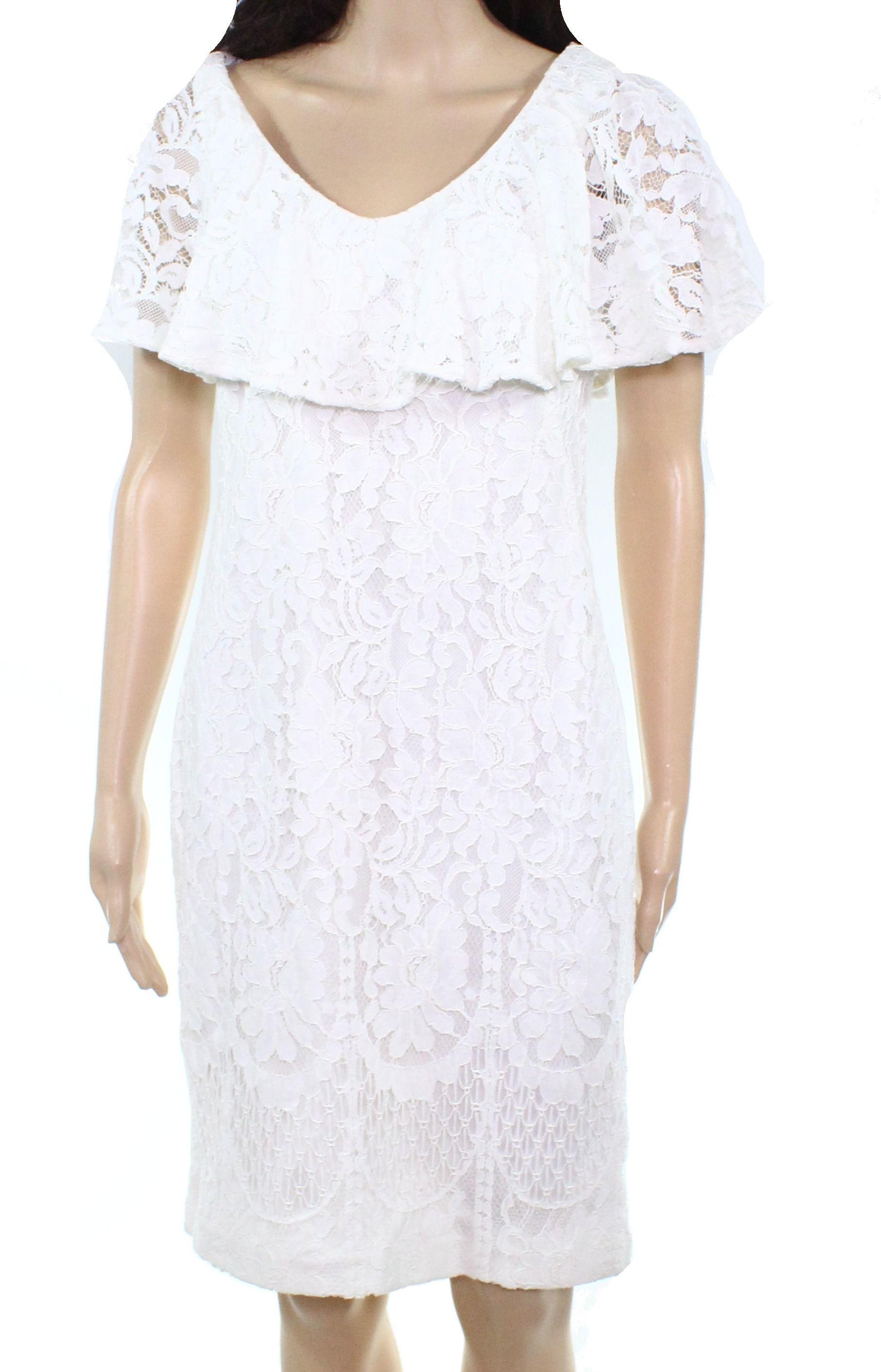 Lauren By Ralph Lauren Women's Dress White Size 4 Sheath Lace V Neck