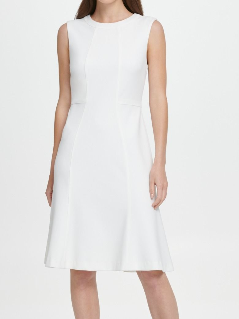 DKNY Women's Dress White Ivory Size 6 A-Line Crew Neck Fit & Flare