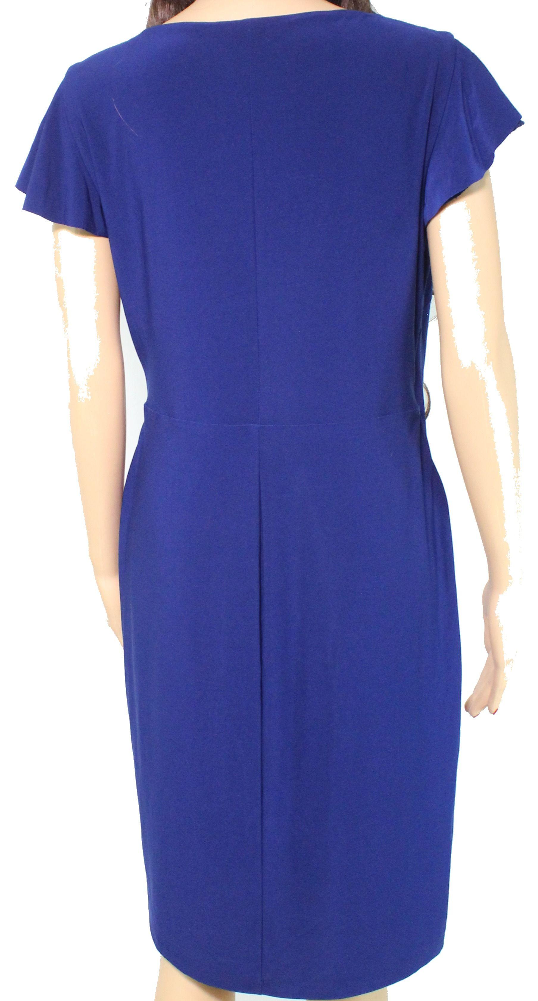 Lauren by Ralph Lauren Women's Dress Blue Size 10 Sheath Ruffle Front