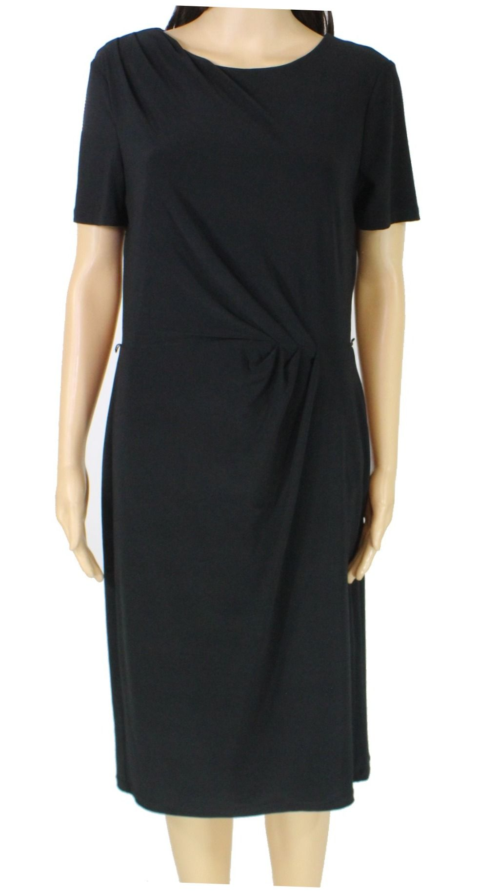 Lauren By RALPH LAUREN Women's Dress Black Size 12 Sheath Ruched Front