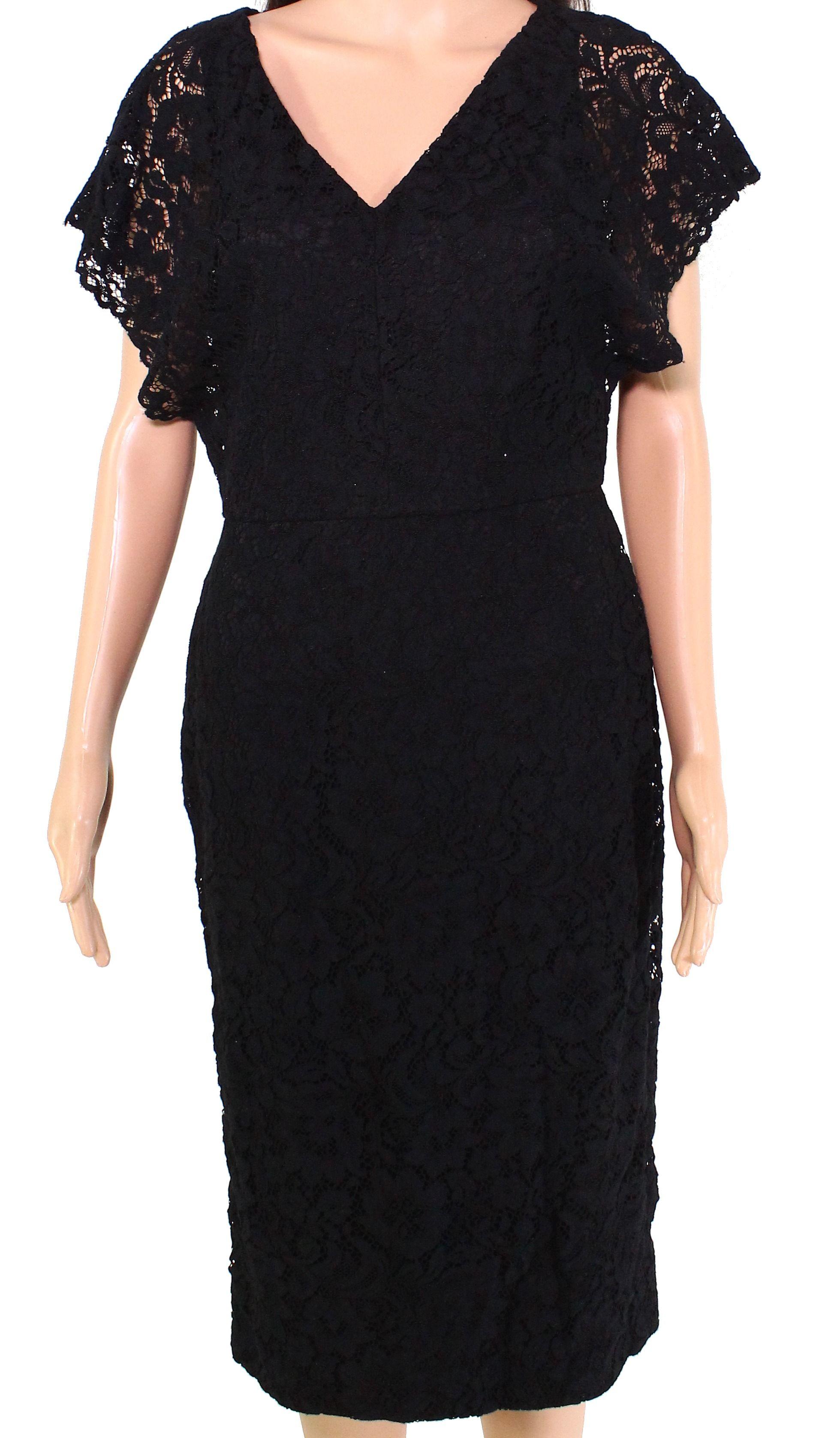Lauren by Ralph Lauren Women's Dress Black Size 8 Sheath Lace V-Neck