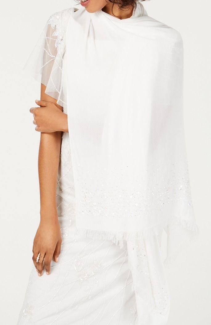 Adrianna Papell Pashmina White Ivory Sequin Embellished Frayed Hem