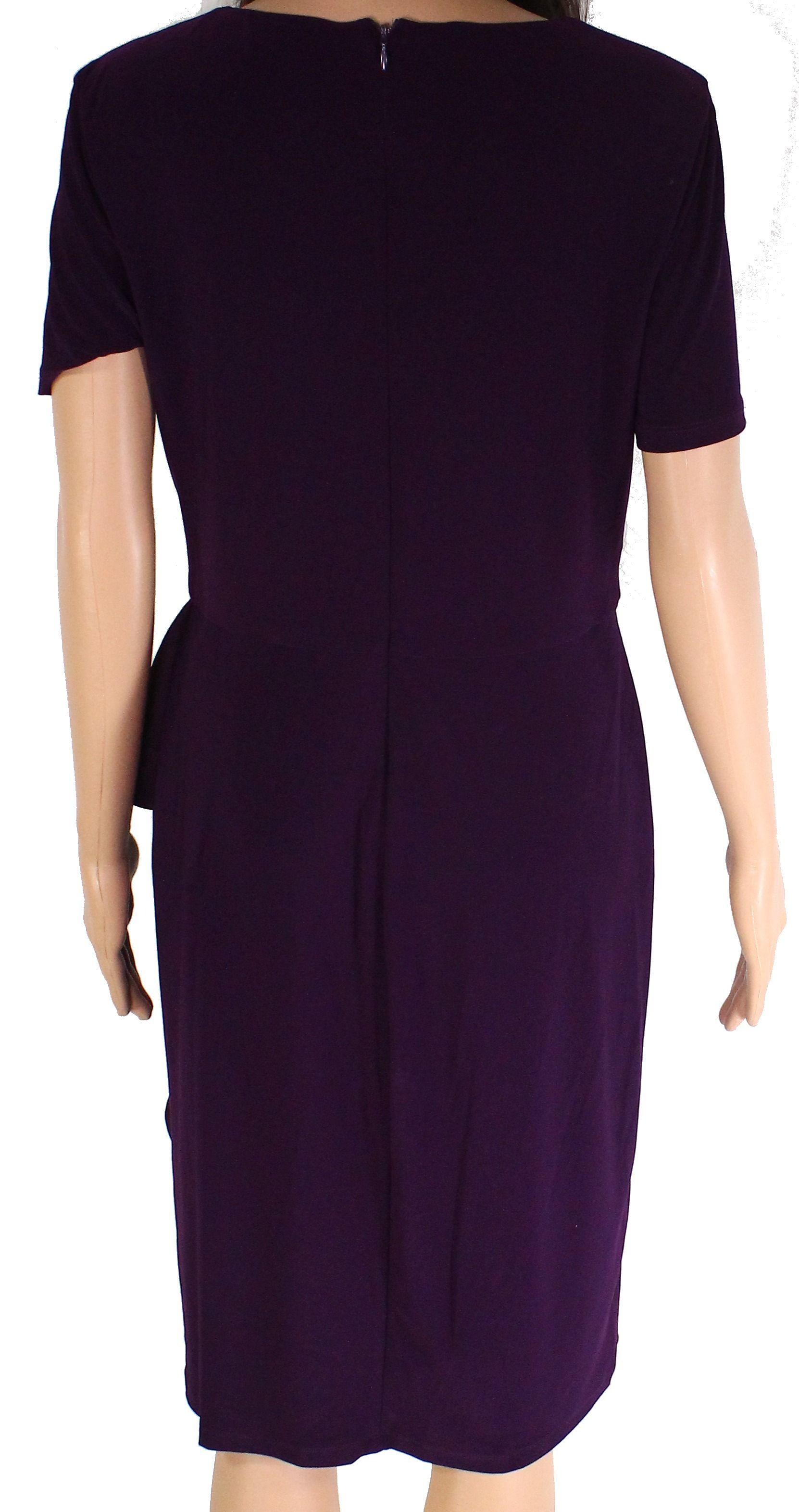Lauren by Ralph Lauren Women's Dress Purple Size 4 Sheath Ruffle Side