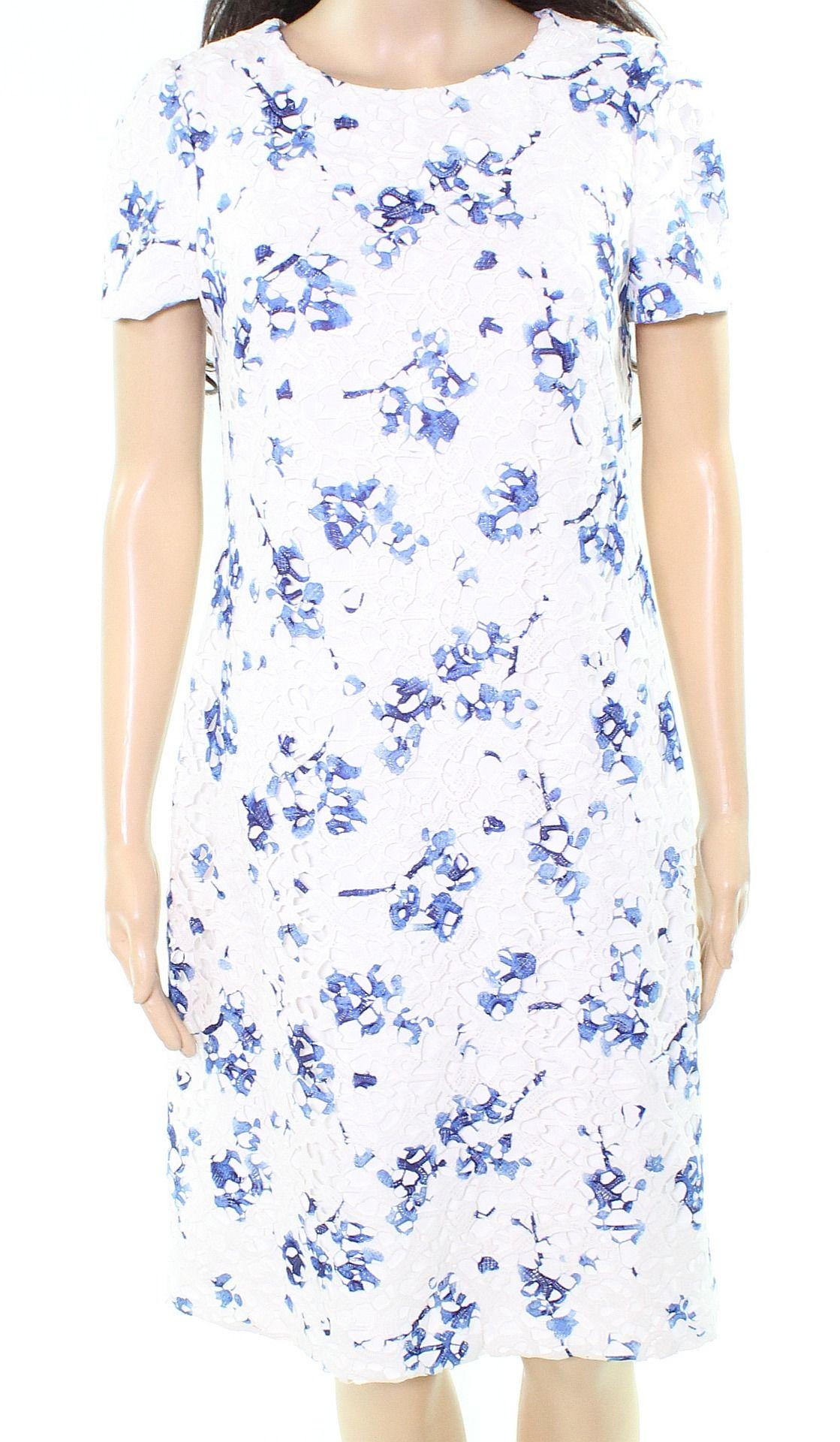 Lauren by Ralph Lauren Women's White Size 4 Floral Laced Sheath Dress