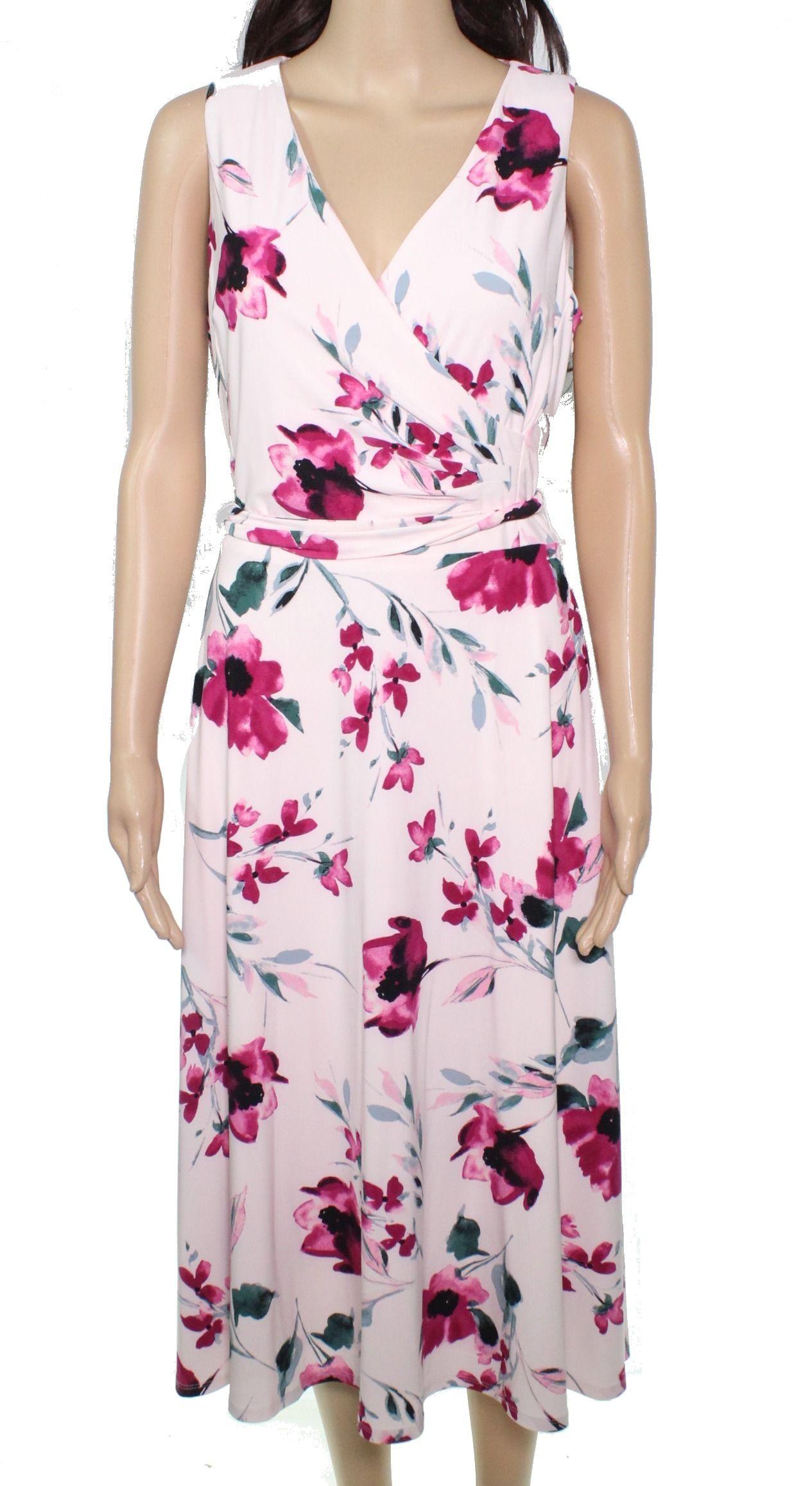 Lauren By Ralph Lauren Women's Dress Pink Size 10 Floral Surplice Midi