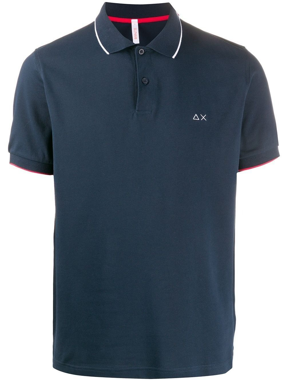 SUN 68 MEN'S A3010607 BLUE COTTON POLO SHIRT