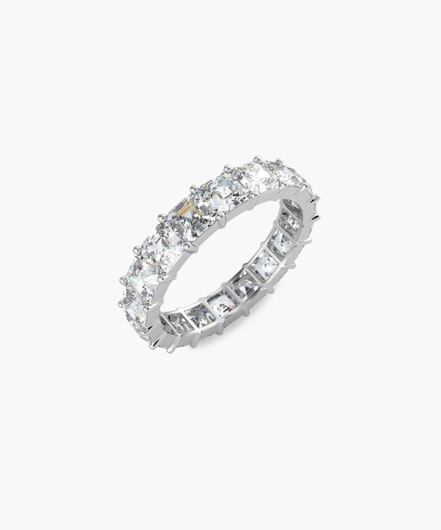 Platinum and 4.00ct asscher-cut diamond full eternity ring