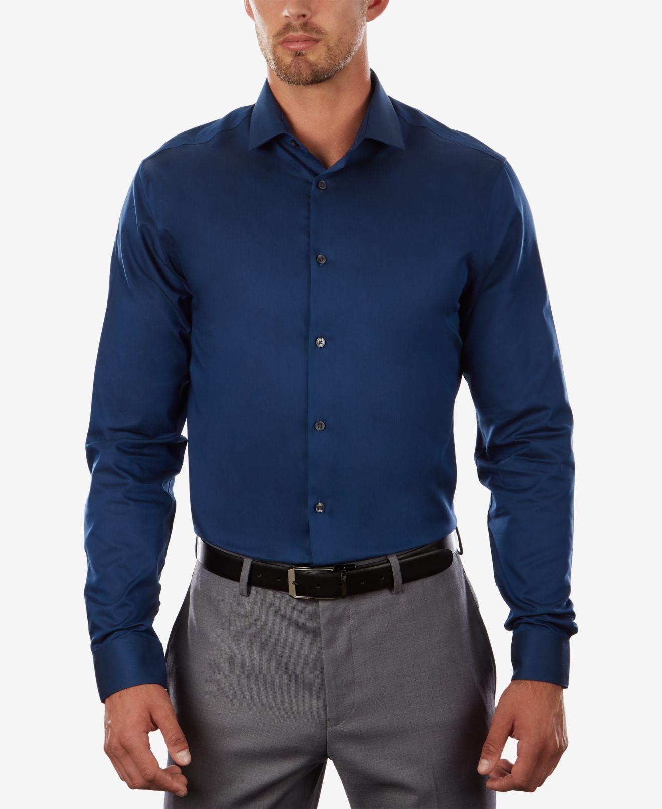 Calvin Klein Mens Dress Shirt Blue Size 15 Extreme Slim Fit Button-Down