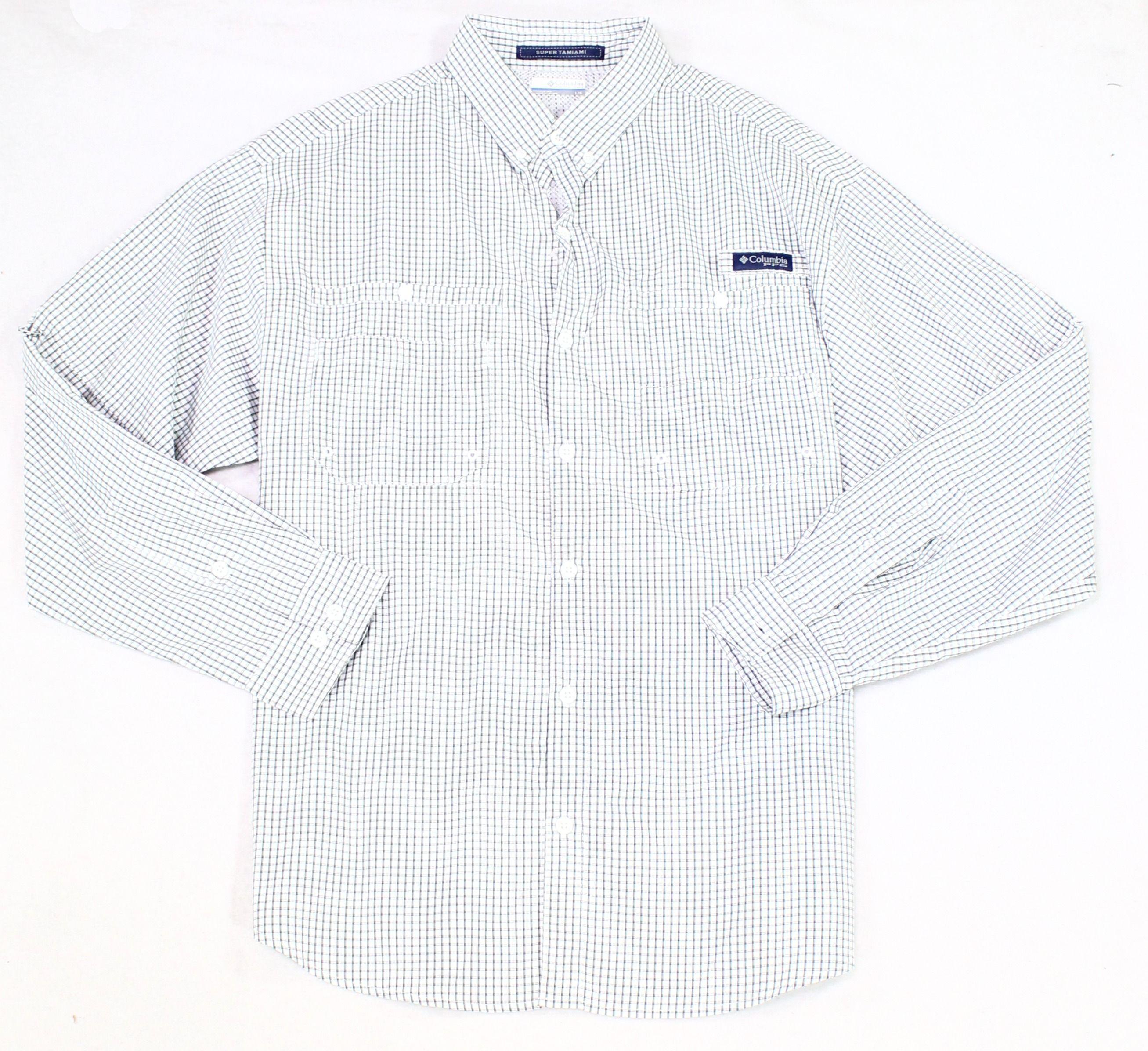 Columbia Mens Shirt White Size XL UPF 40 Check Tamiami Button Down