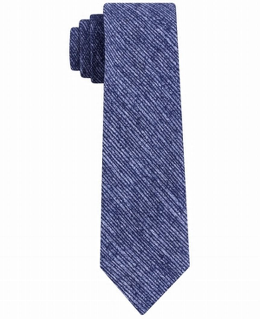 DKNY Men's Neck Tie Blue Destroyed Striped Skinny Slim Silk Accessory