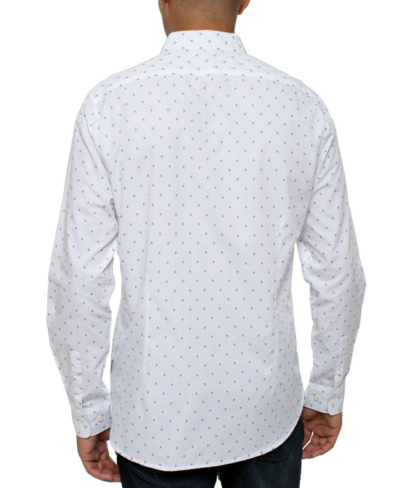 Kenneth Cole Mens Dress Shirt White Size Large L Button Down Clip Dot