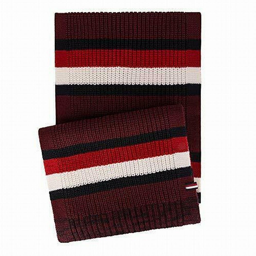 Tommy Hilfiger Men Accessories Red One Size Crochet Knit Stripe Scarf