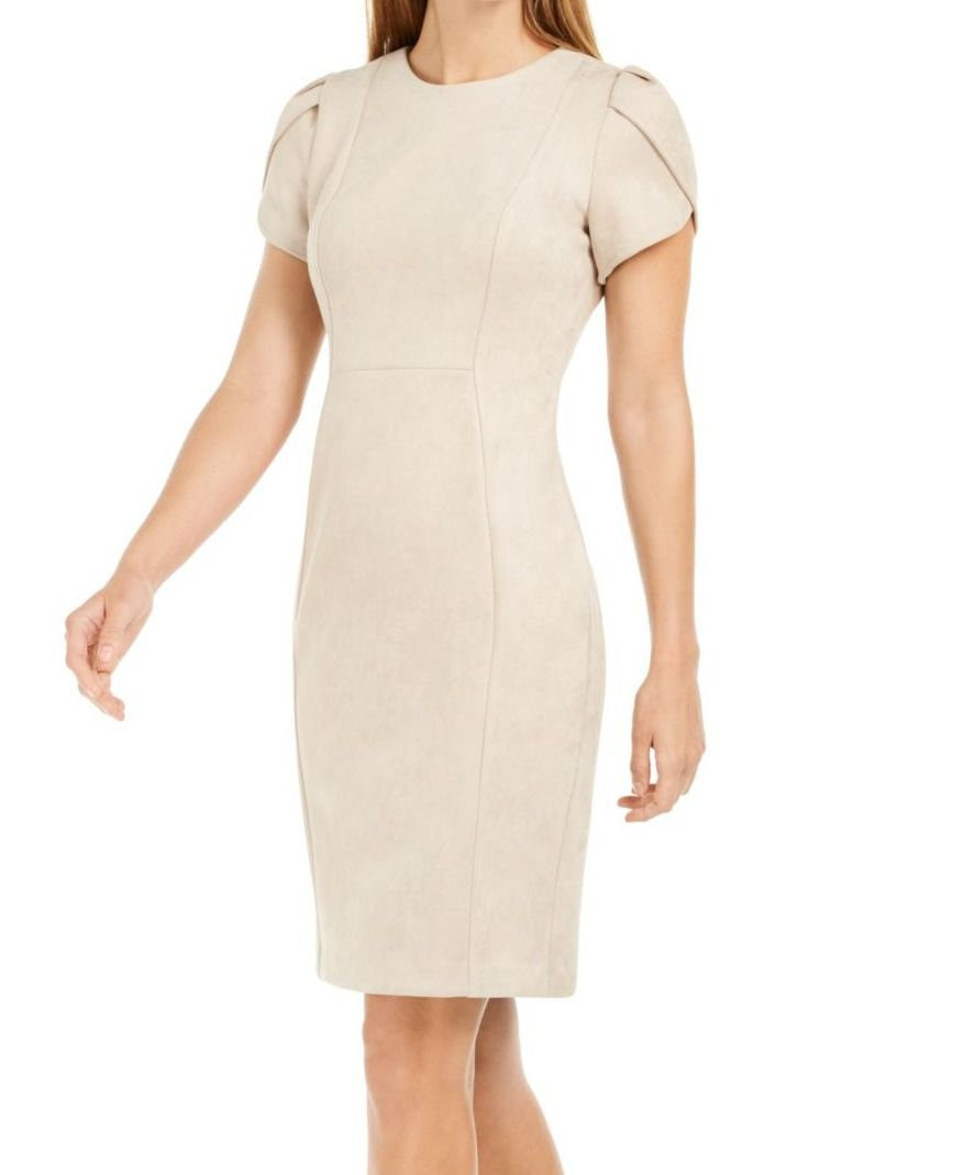 Calvin Klein Womens Dress Beige Size 12 Sheath Faux Suede Tulip Sleeve