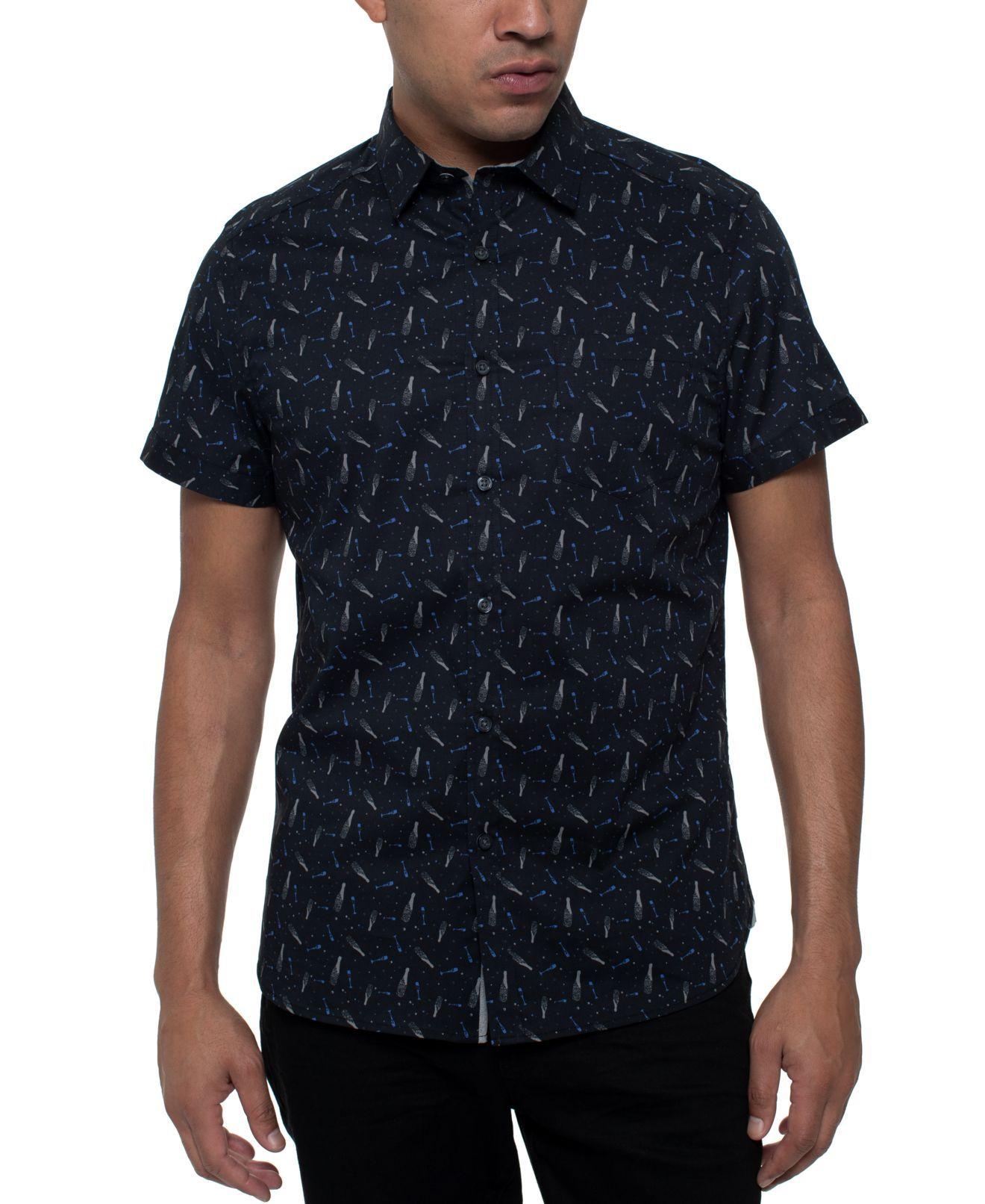 Kenneth Cole Mens Shirt Blue Size Medium M Button Down Short Sleeve