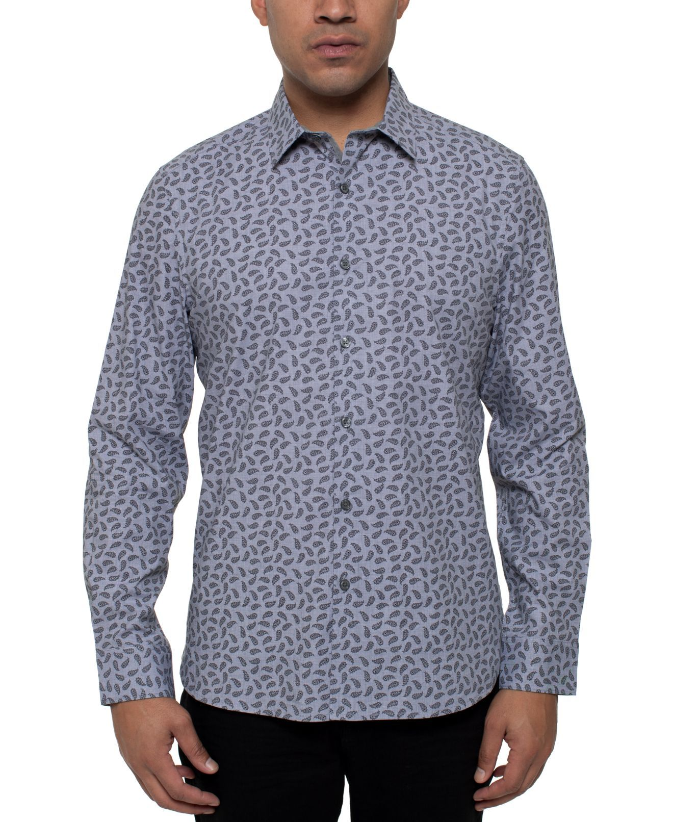 Kenneth Cole Mens Shirt Gray Size XL Performance Paisley Button Down