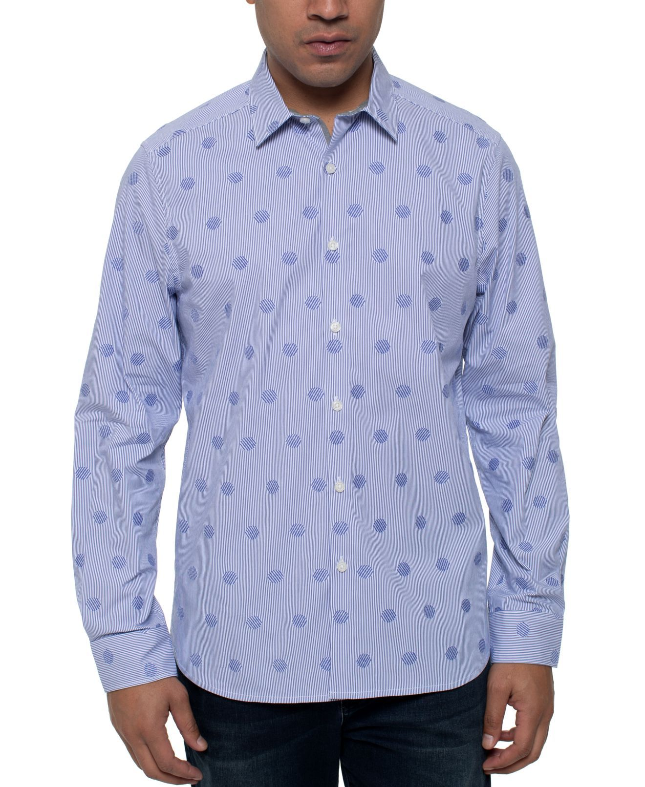 Kenneth Cole Mens Shirt Blue Size Small S Striped Dot Button-Down