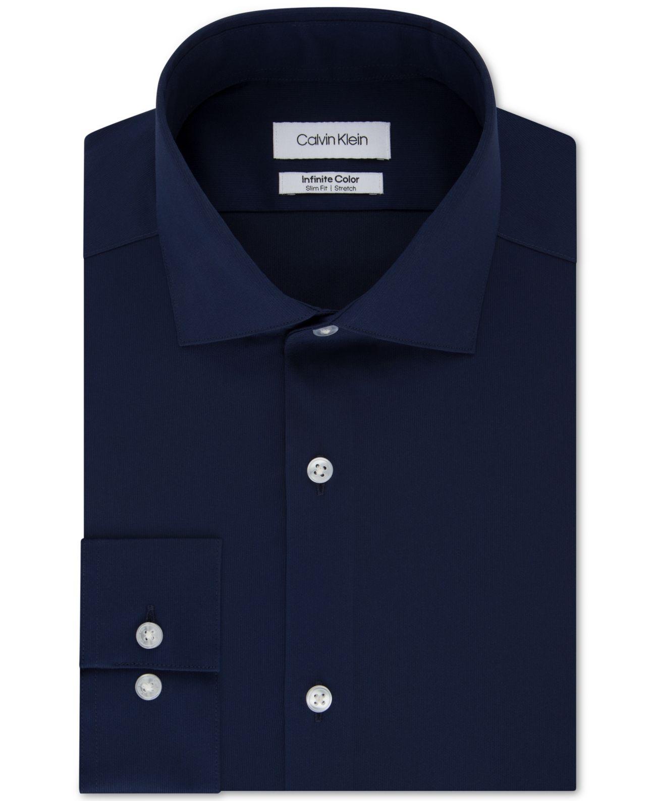 Calvin Klein Mens Dress Shirt Midnight Blue Size XL Collar Button Down