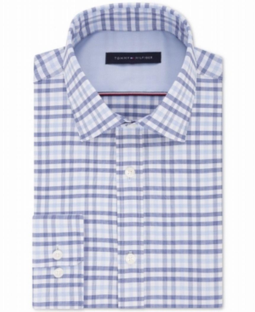 Tommy Hilfiger Mens Dress Shirt White Size 14 1/2 Check ThFlex Athletic