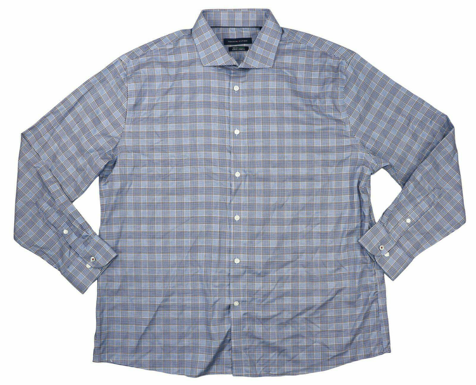 Tommy Hilfiger Men Dress Shirt Blue Size 16 Slim Fitted Button Down
