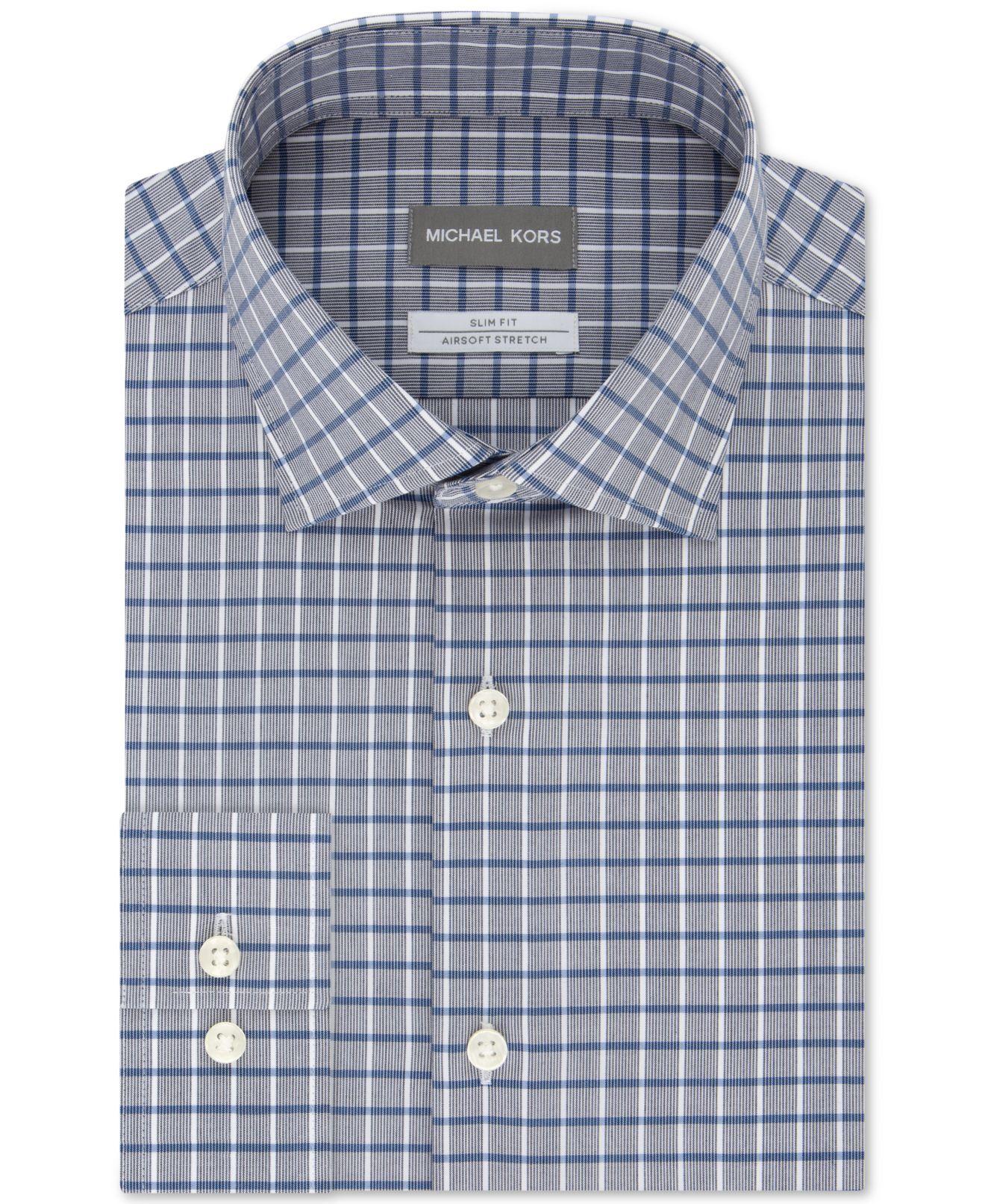 Michael Kors Men Dresss Shirt Gray Size 15 1/2 Plaid Collar Button Down