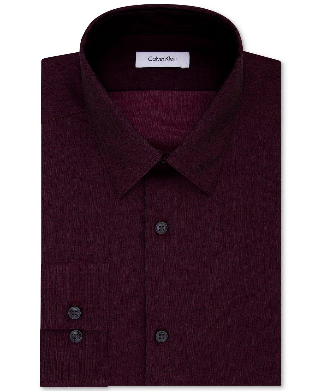 Calvin Klein Mens Dress Shirt Purple Size 2XL Slim Fit Herringbone