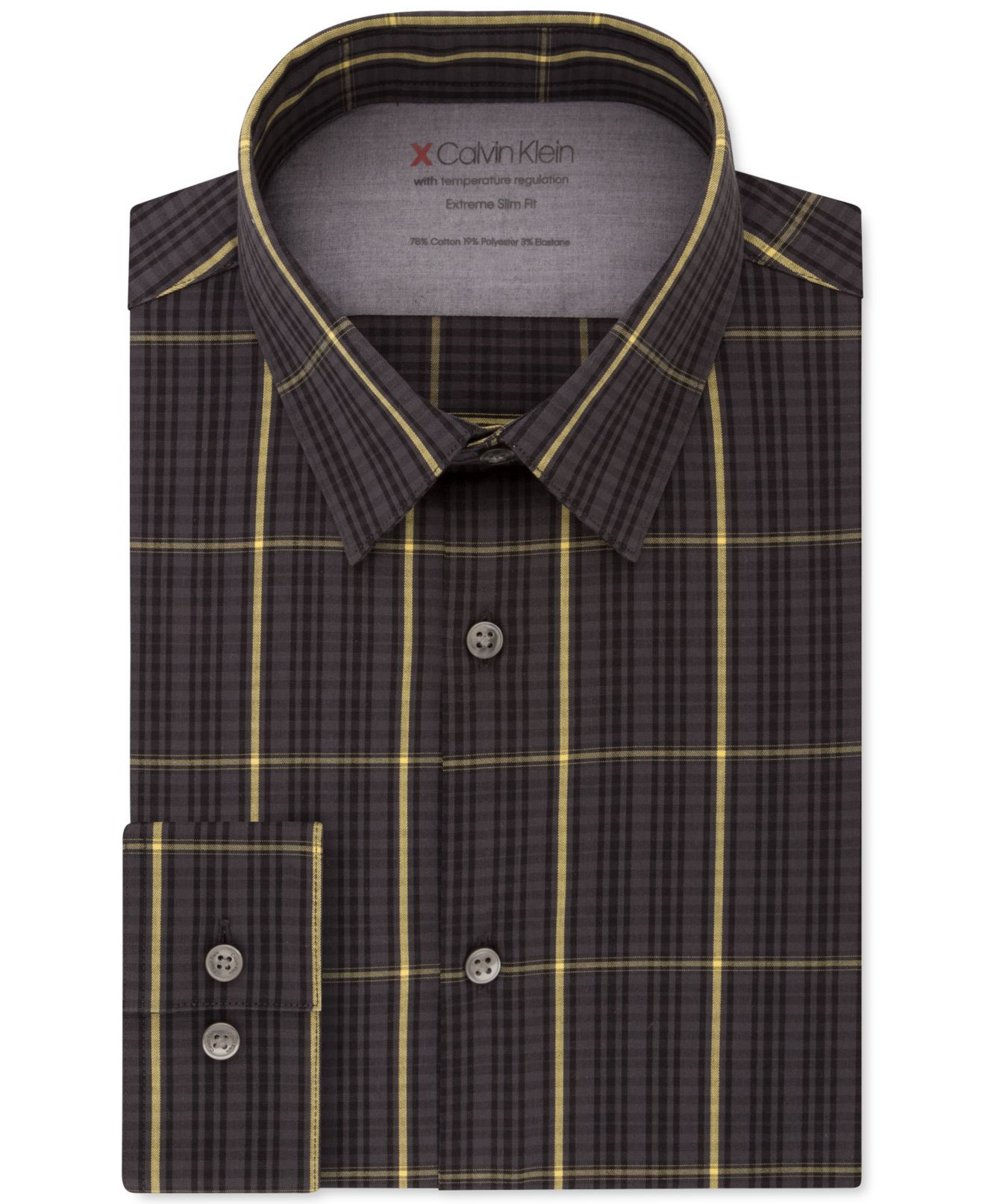 Calvin Klein Mens Dress Shirt Black Size Large L 16-16 1/2 Slim Fit