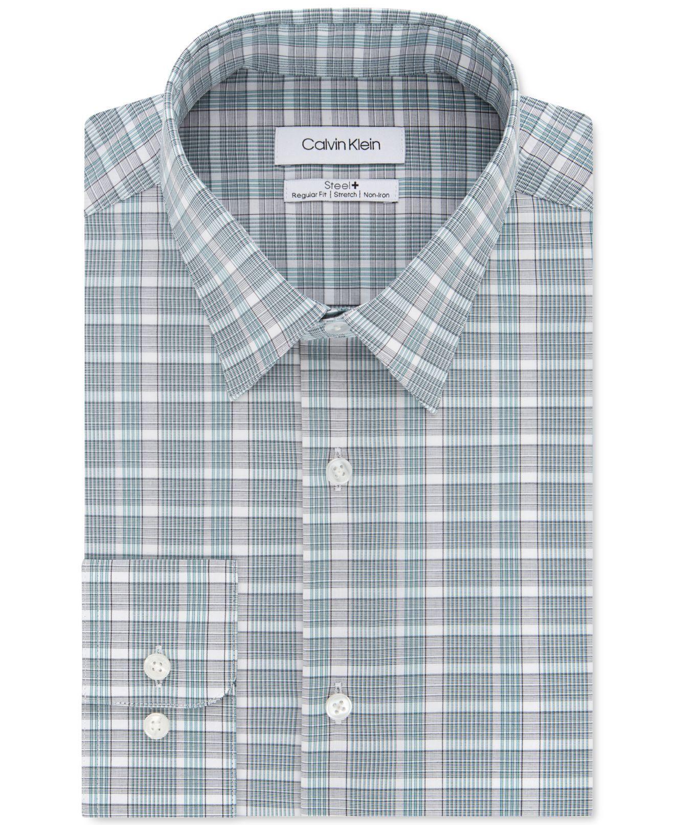 Calvin Klein Mens Dress Shirt Green Size 17 1/2 XL Check Regular Fit