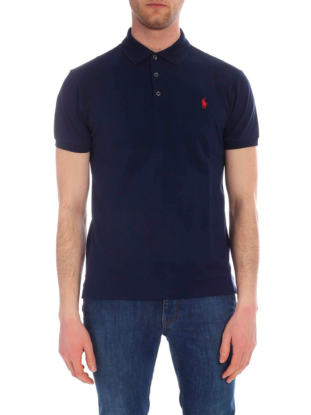 RALPH LAUREN MEN'S 710541705009 BLUE COTTON POLO SHIRT
