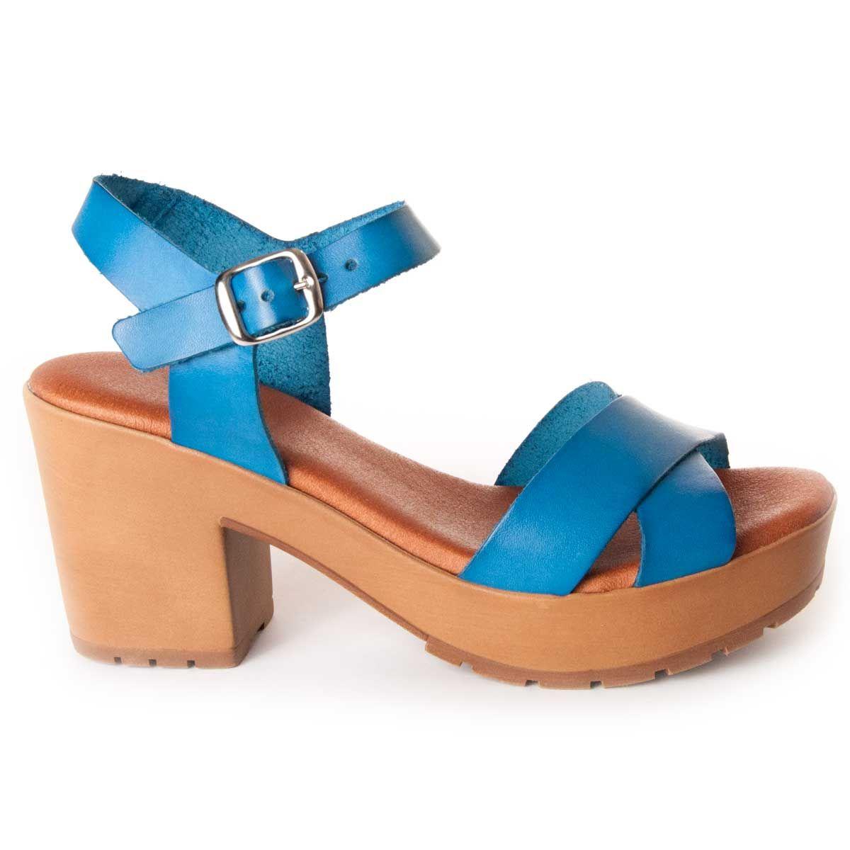 Leindia Platform Sandal in Blue