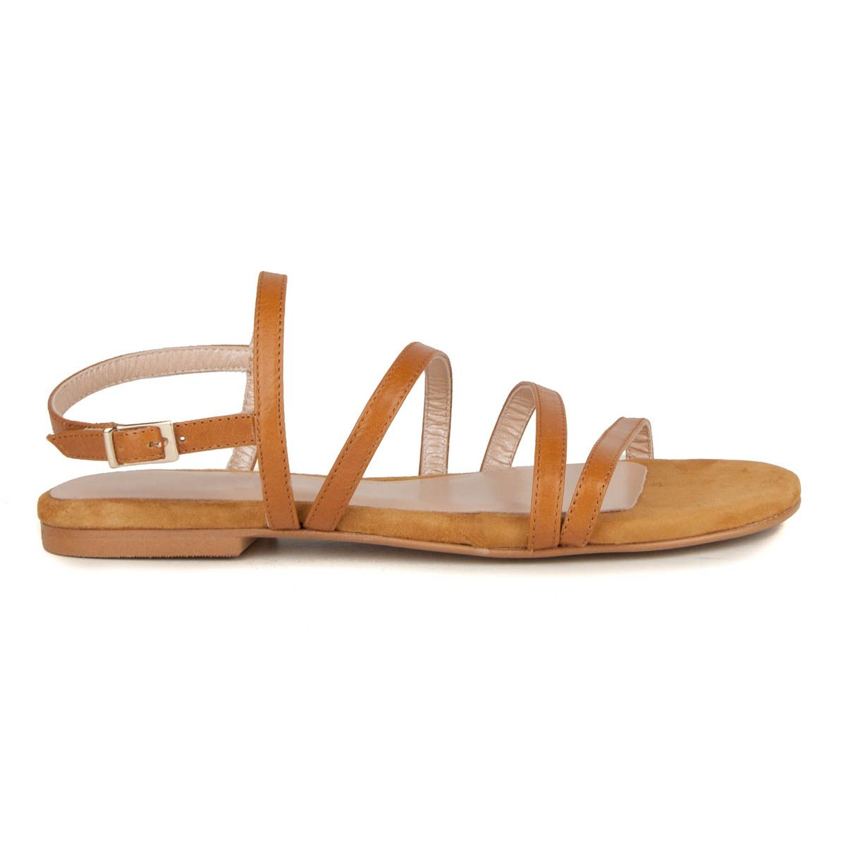 Montevita Flat Gladiator Sandal in Camel