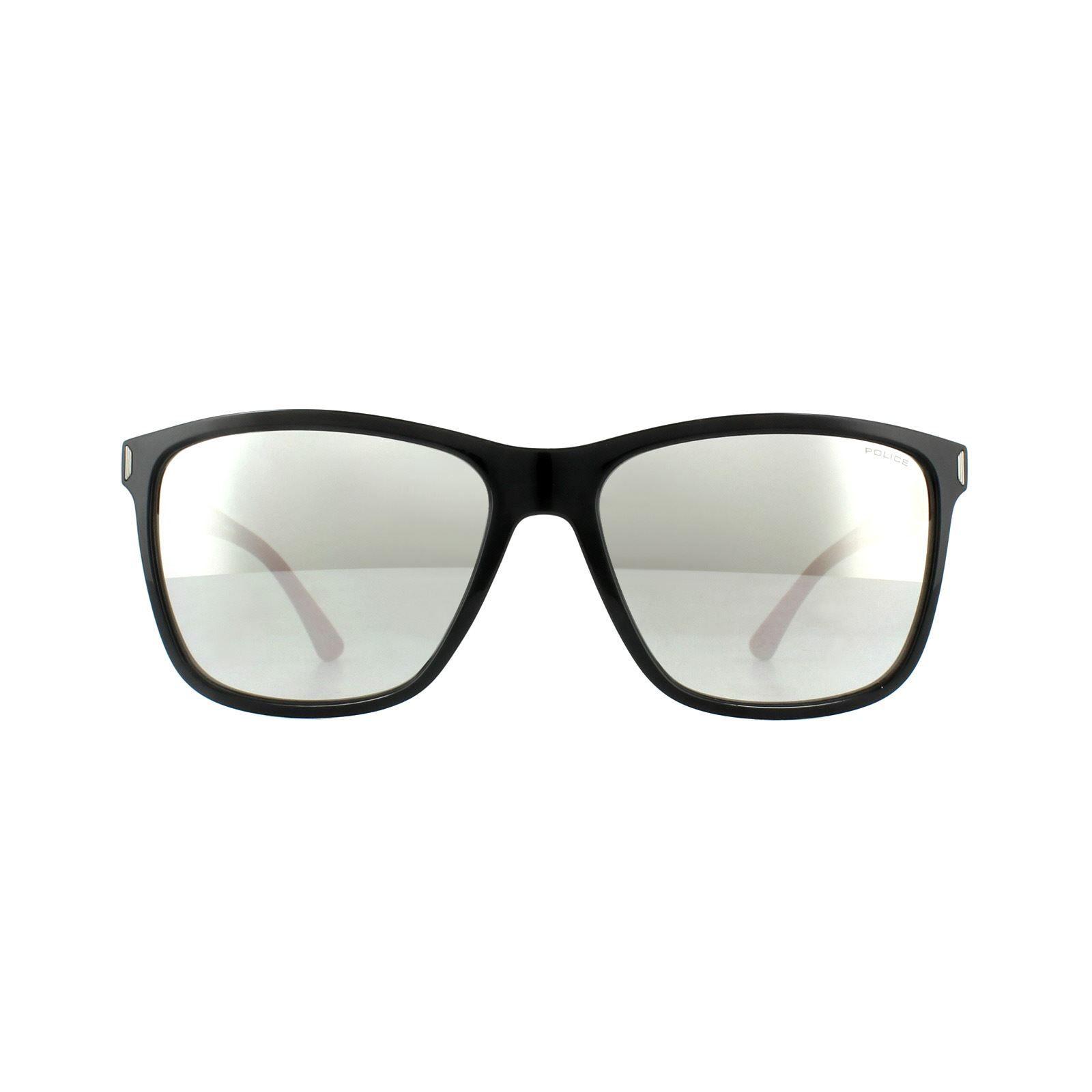 Police Sunglasses SPL529 Speed 10 Z42X Shiny Black Red Silver Mirror