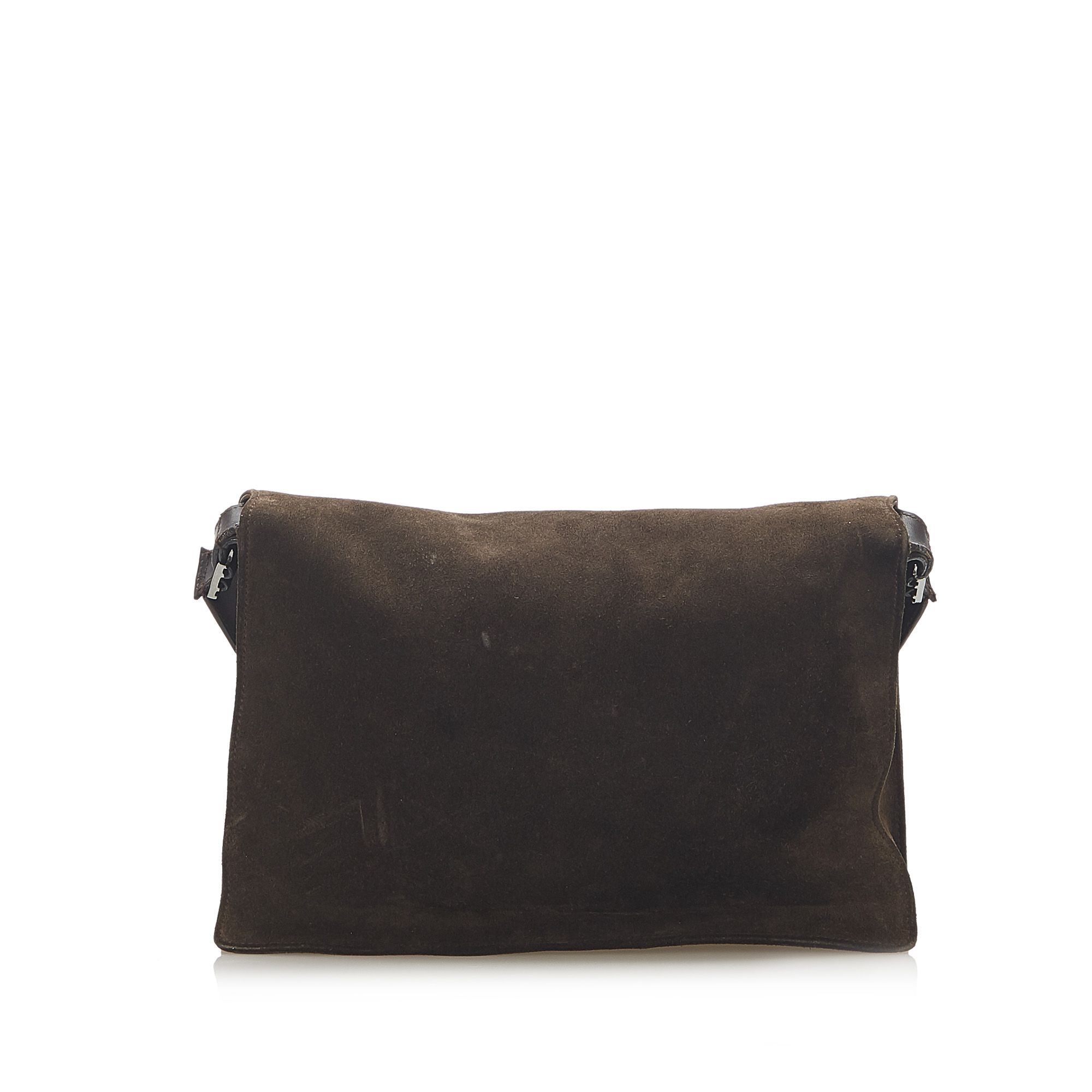 Vintage Gucci Suede Shoulder Bag Brown