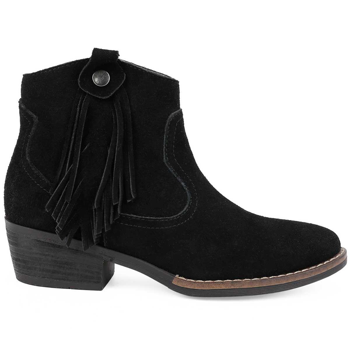 Montevita Flat Western Ankle Boot in Black