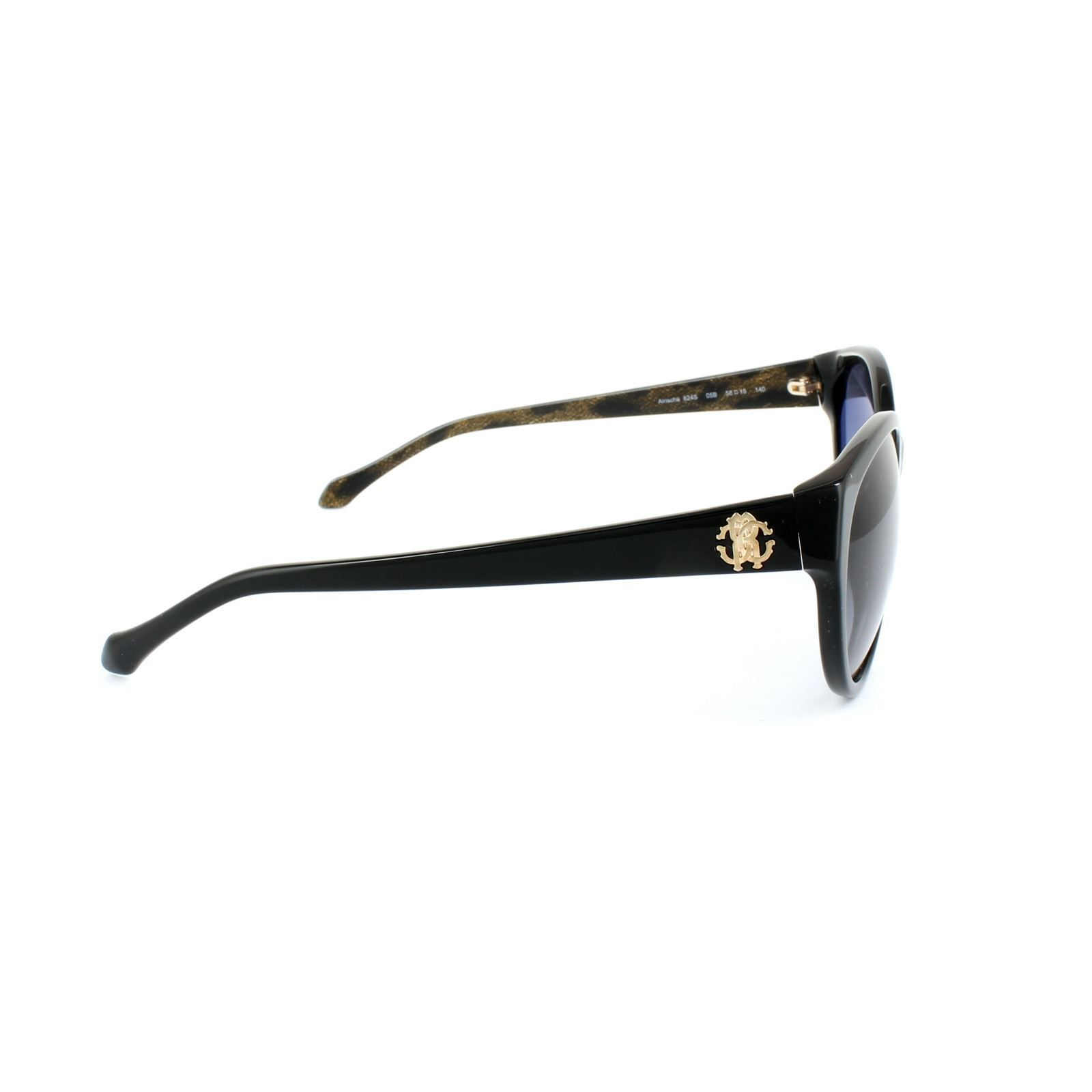 Roberto Cavalli Sunglasses Alrischa 824 05B Shiny Black Grey Gradient