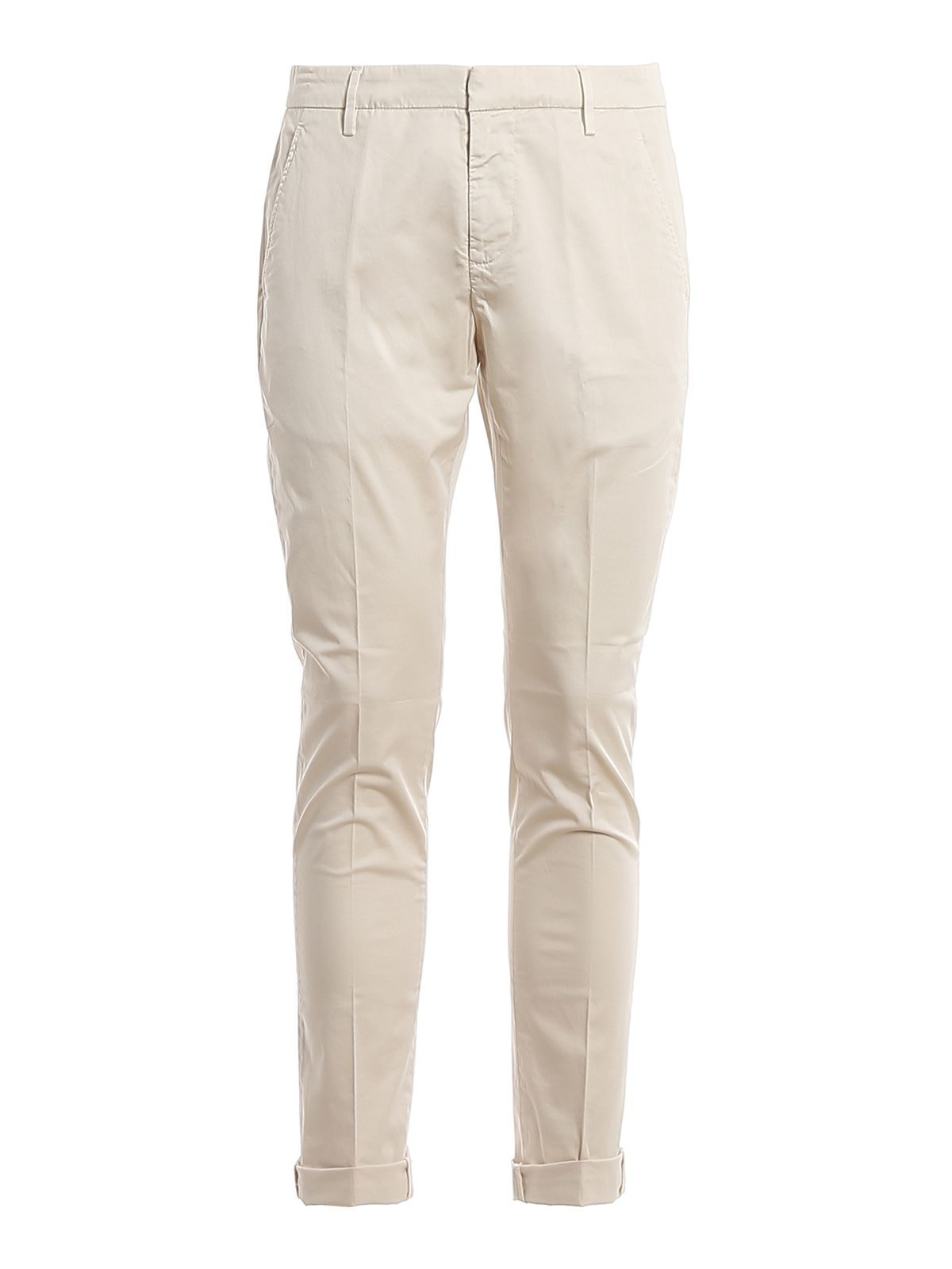 DONDUP MEN'S UP235RSE036PTD005 WHITE COTTON PANTS