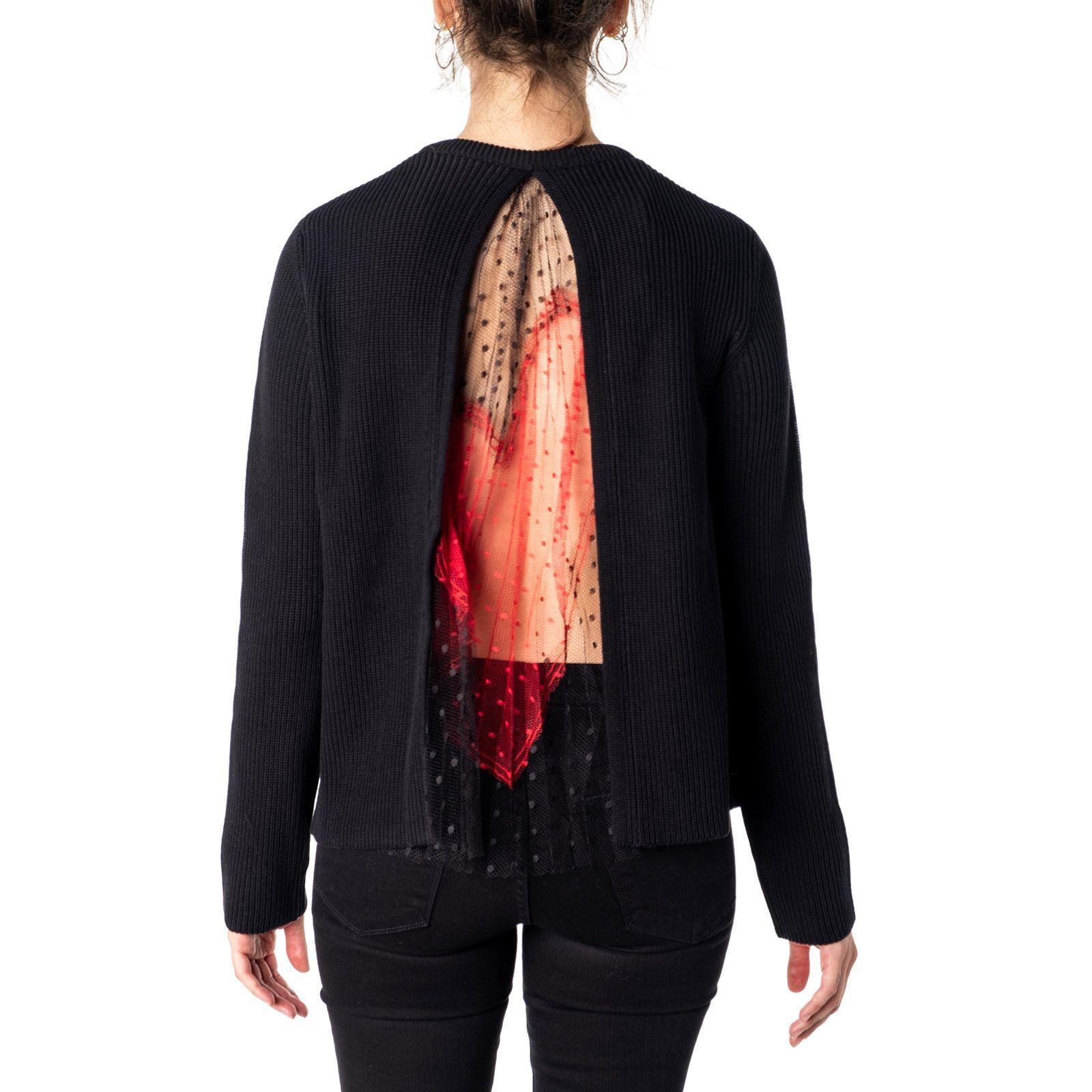 RED VALENTINO WOMEN'S SR3KCB244ET0NO BLACK COTTON SWEATER