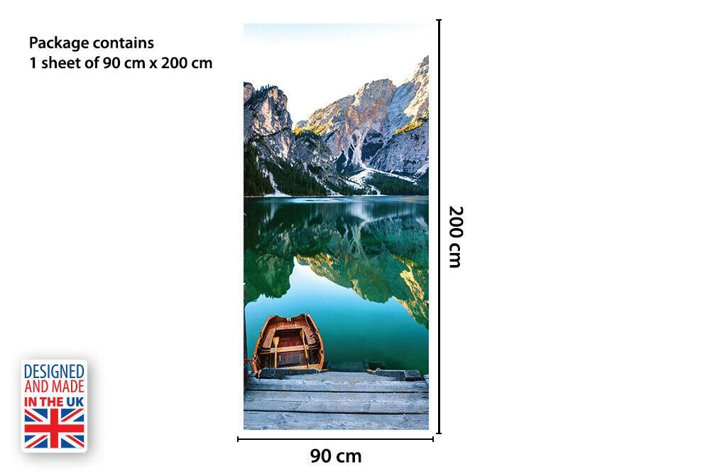 Mountain Lake Self-Adhesive Door Mural Sticker For All Europe Size 90Cm X 200Cm