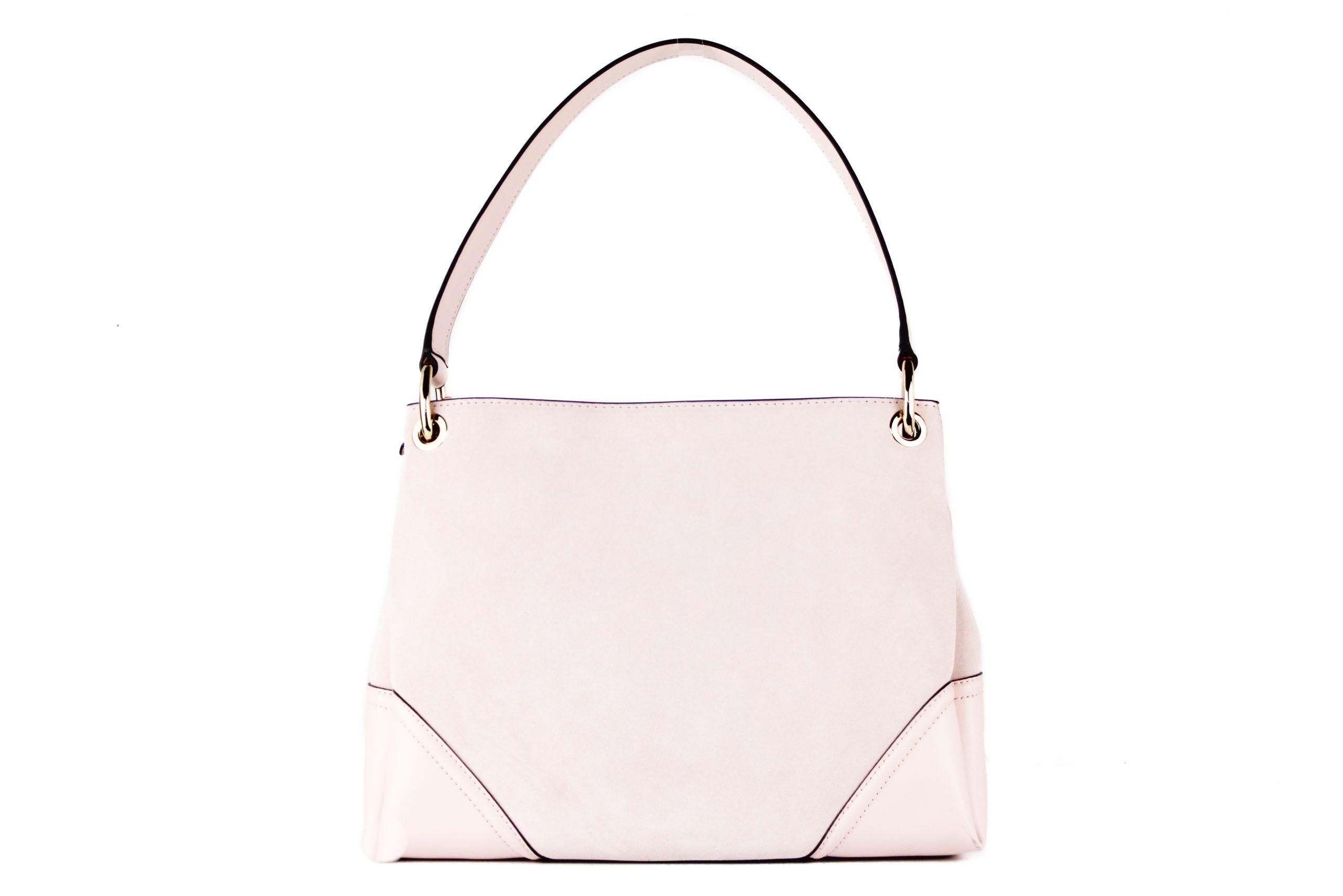 Michael Kors Nicole Medium Leather Suede Shoulder Handbag (Powder Blush Solid)