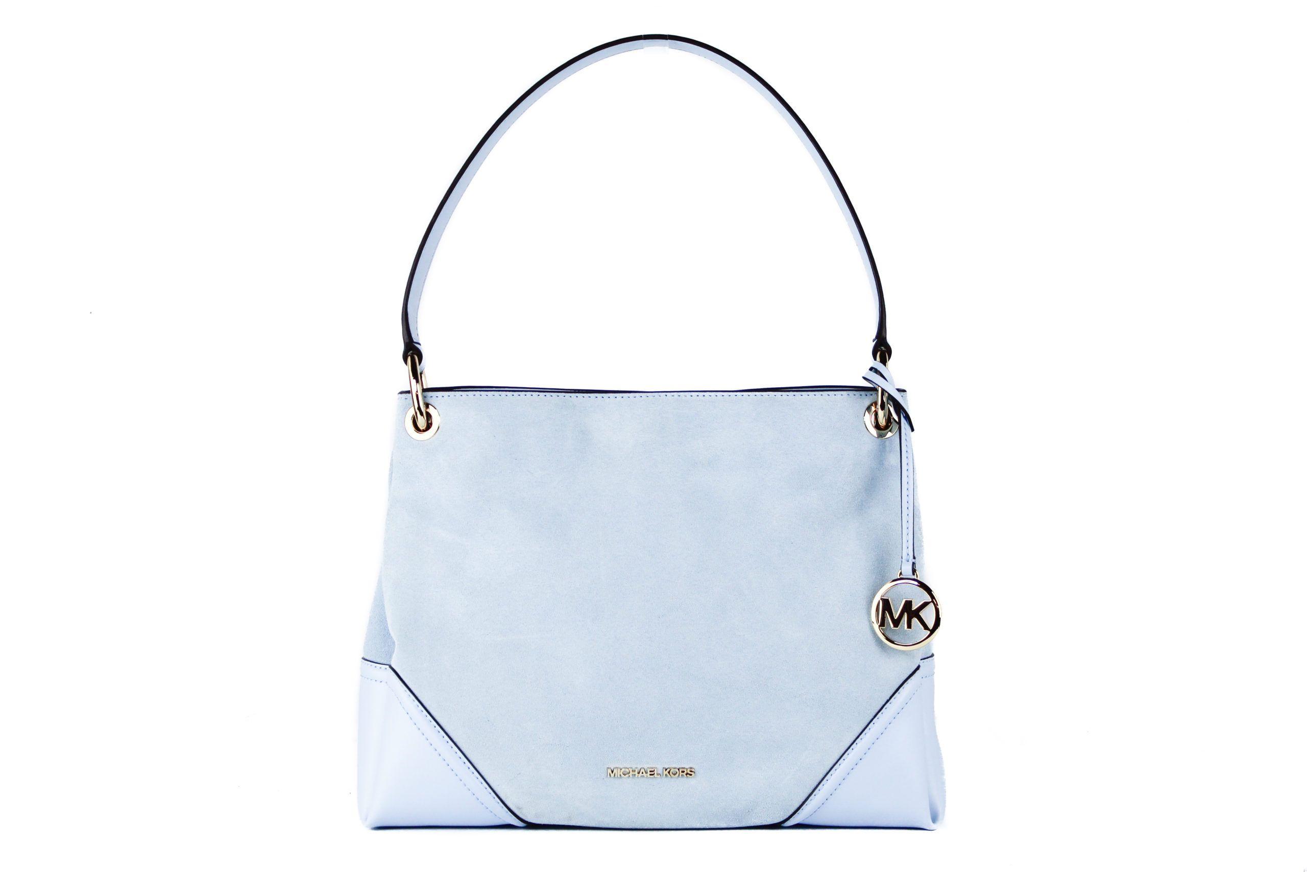 Michael Kors Nicole Medium Leather Suede Shoulder Handbag (Light Sky Solid)