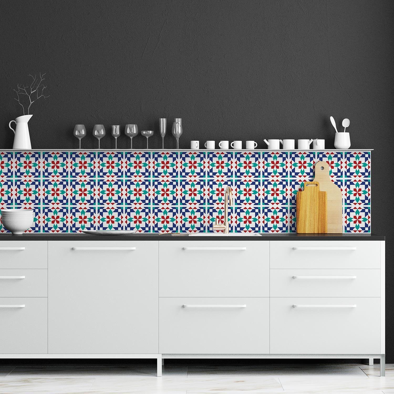 Marrakech Tiles Wall Stickers - 15 cm x 15 cm - 24 pcs. Tiles Wall Stickers, Kitchen, Bathroom, Living room