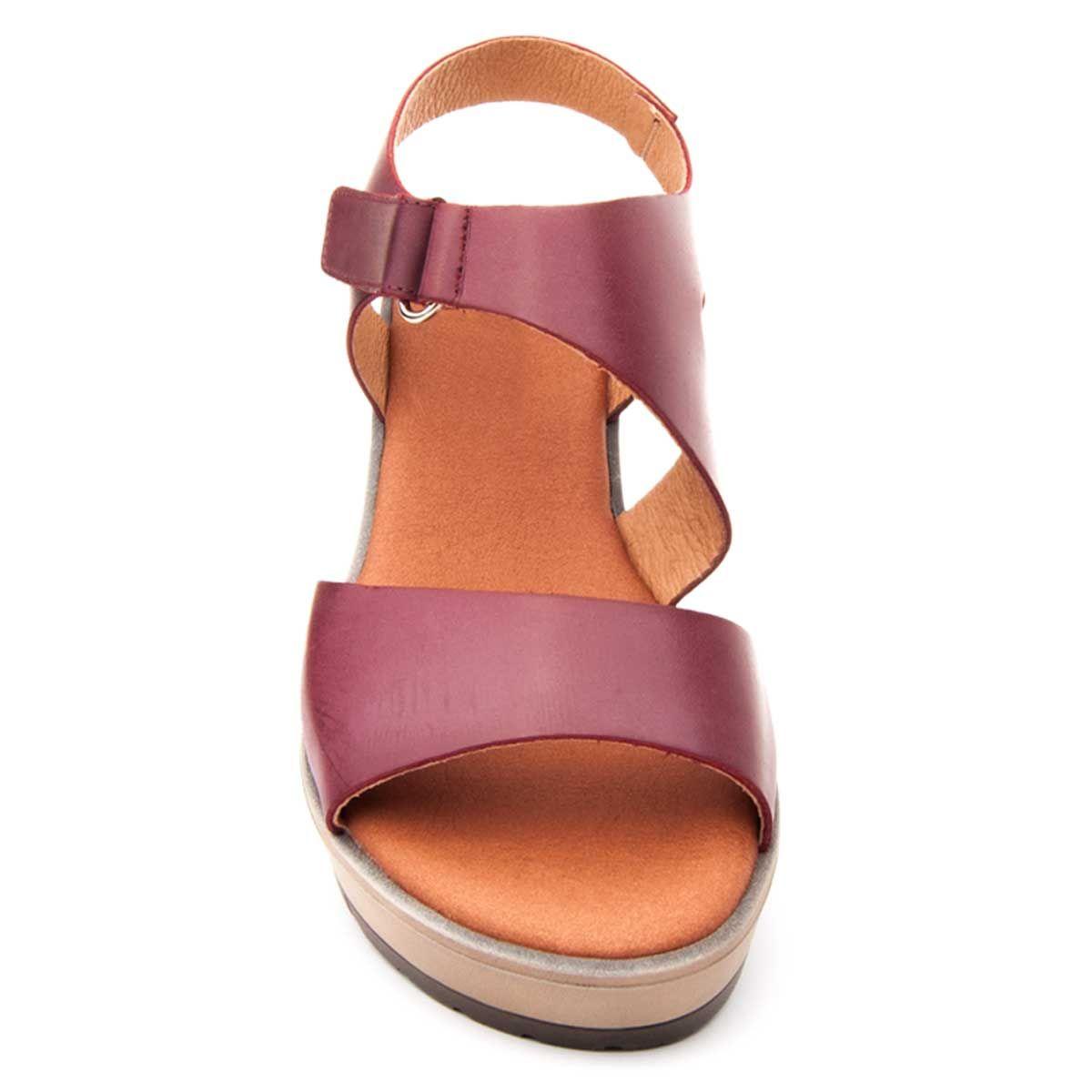 Purapiel Wedge Sandal in Bordo